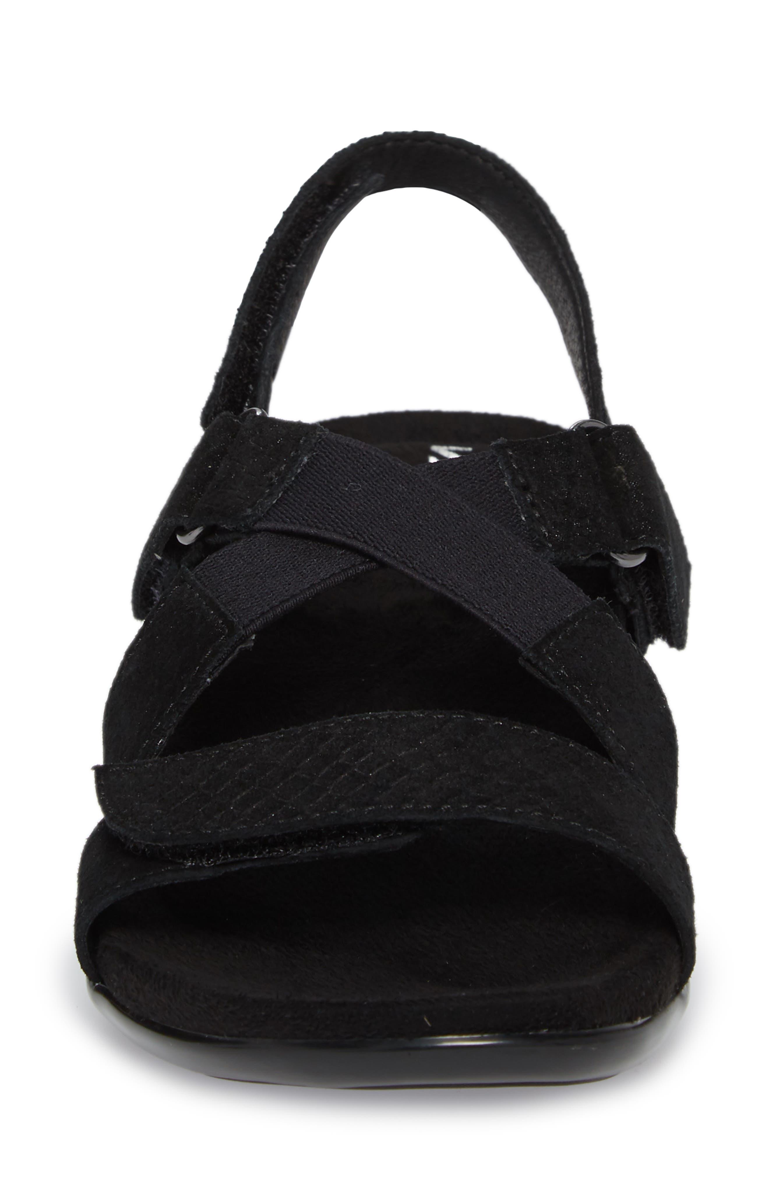 Vicki Slingback Sandal,                             Alternate thumbnail 4, color,                             Black Printed Leather