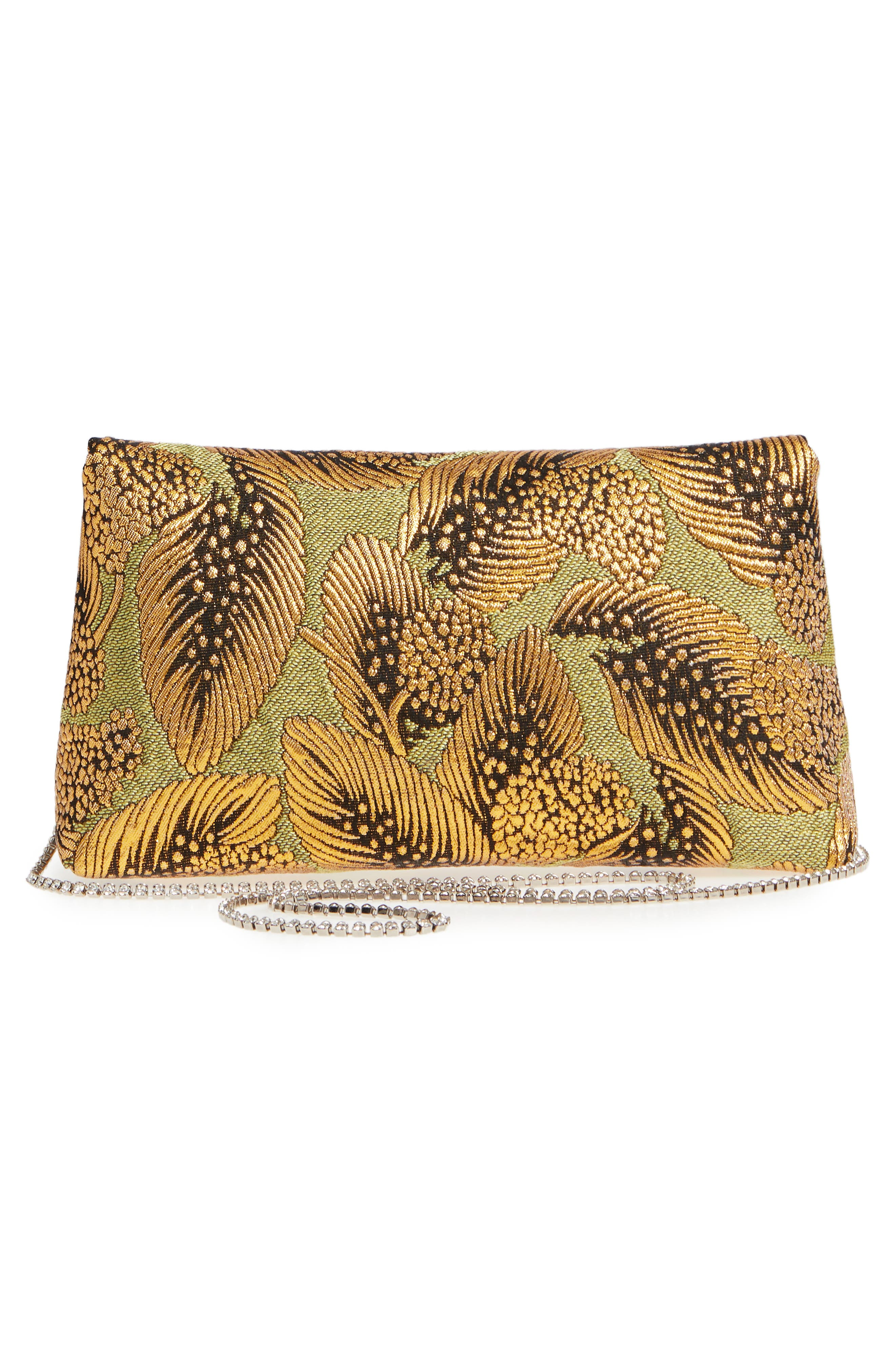 Small Metallic Feather Envelope Clutch,                             Alternate thumbnail 3, color,                             Gold