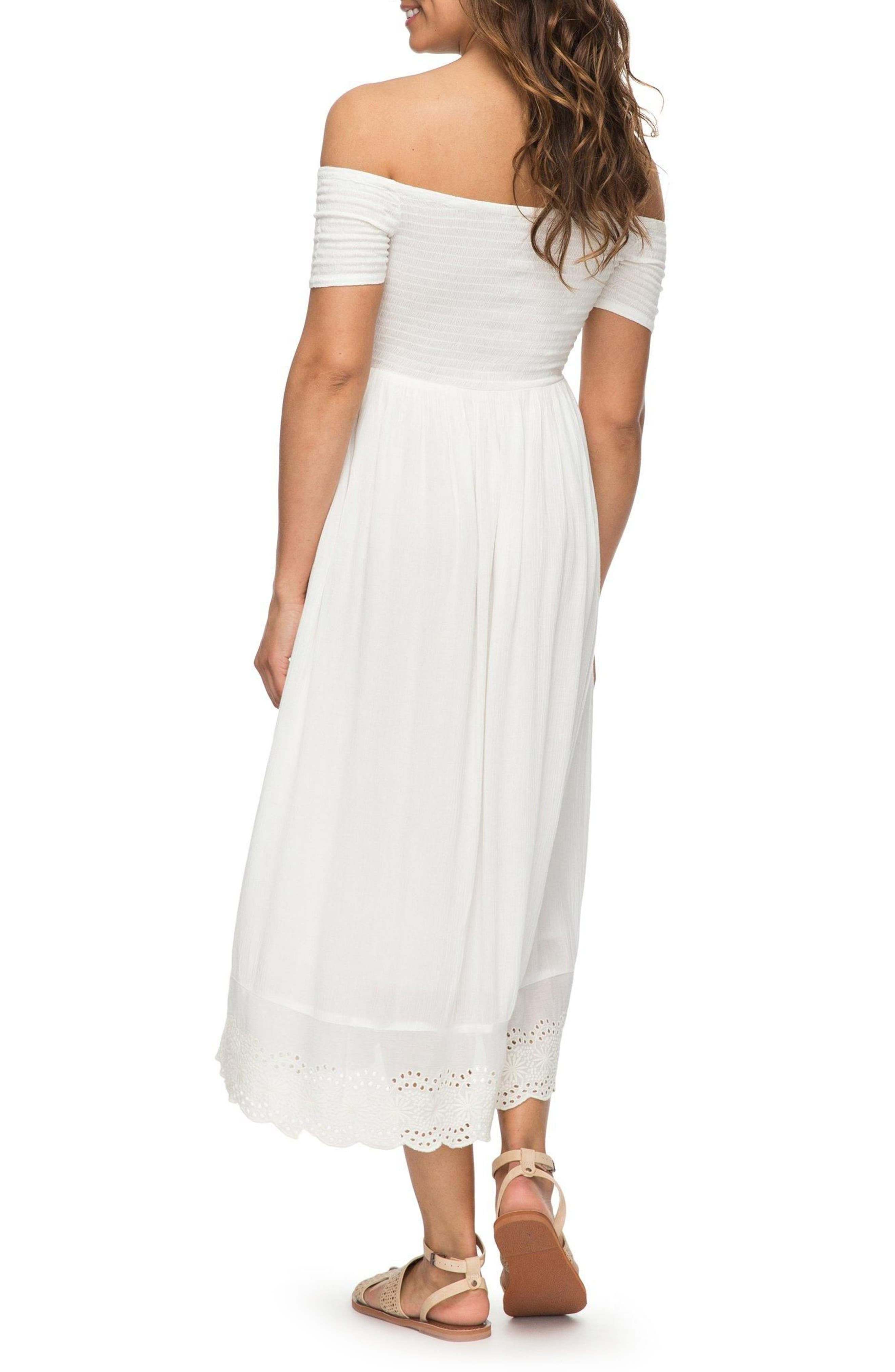 Pretty Lovers Off the Shoulder Midi Dress,                             Alternate thumbnail 2, color,                             Marshmallow1