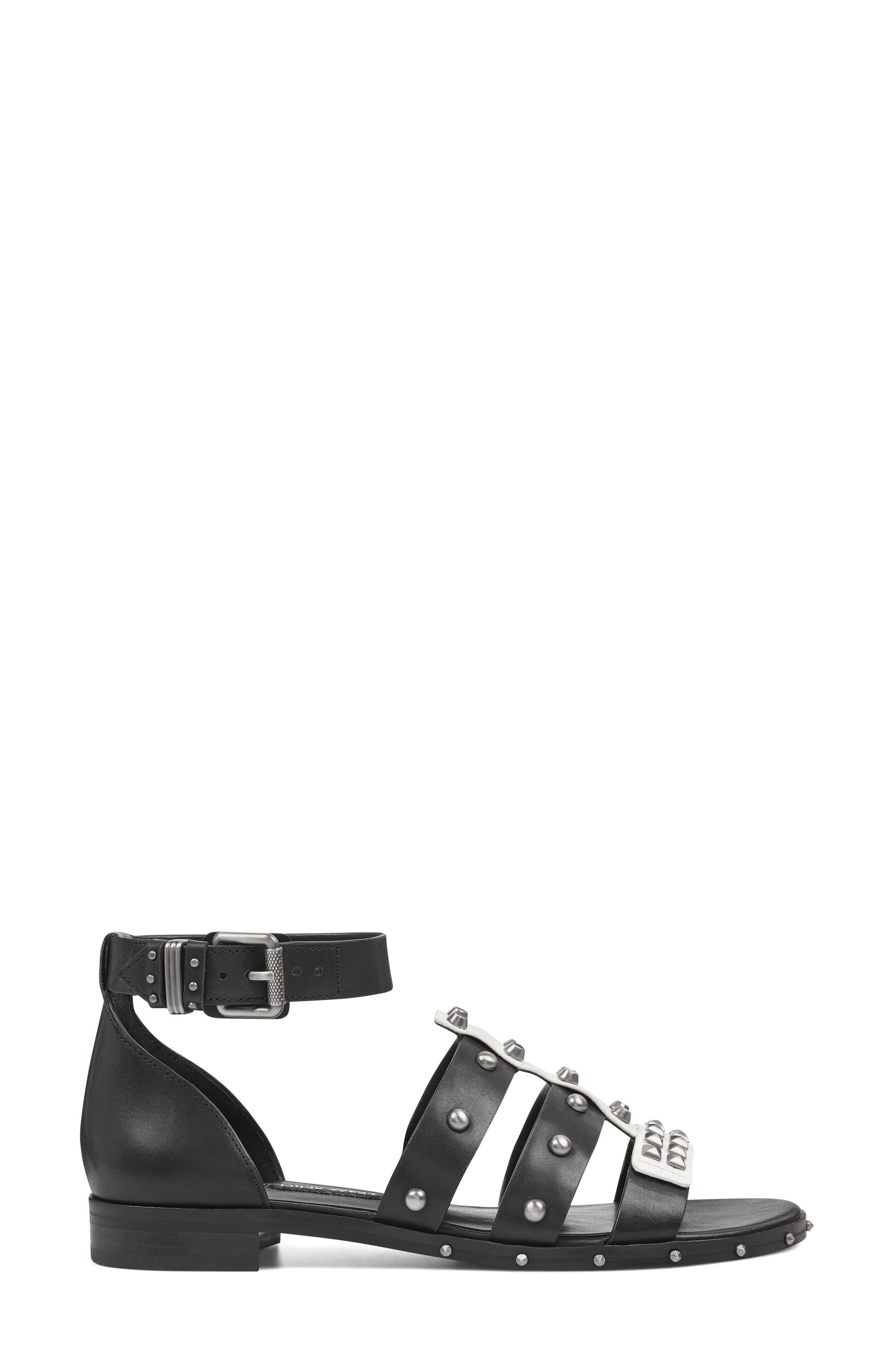 Corisande Sandal,                             Alternate thumbnail 3, color,                             White/ Black Leather