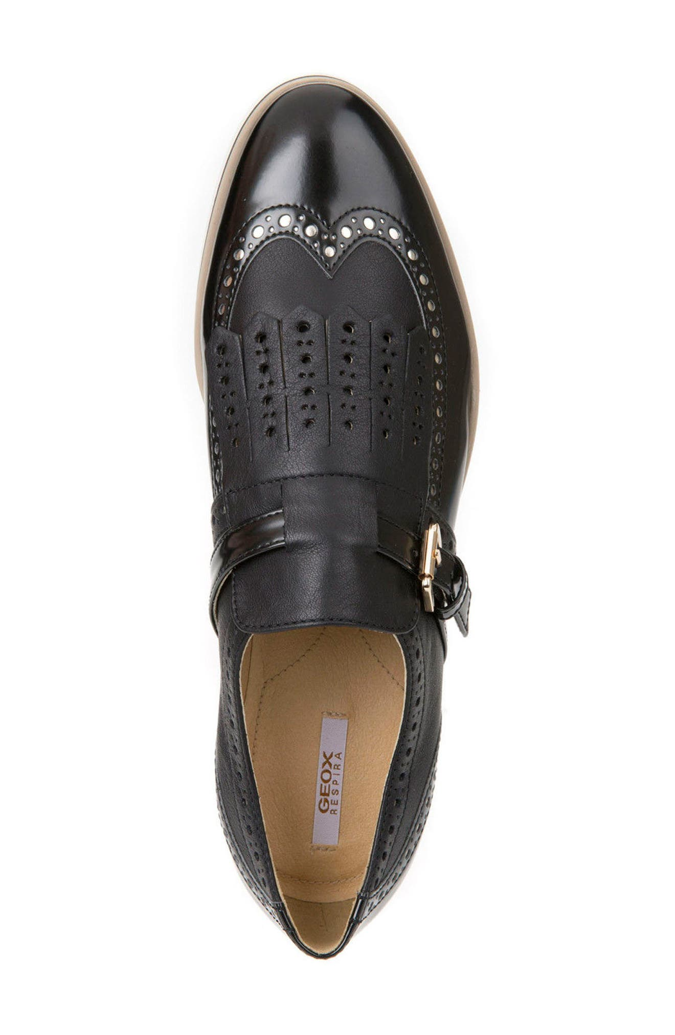 Janalee Cutout Loafer,                             Alternate thumbnail 5, color,                             Black Leather