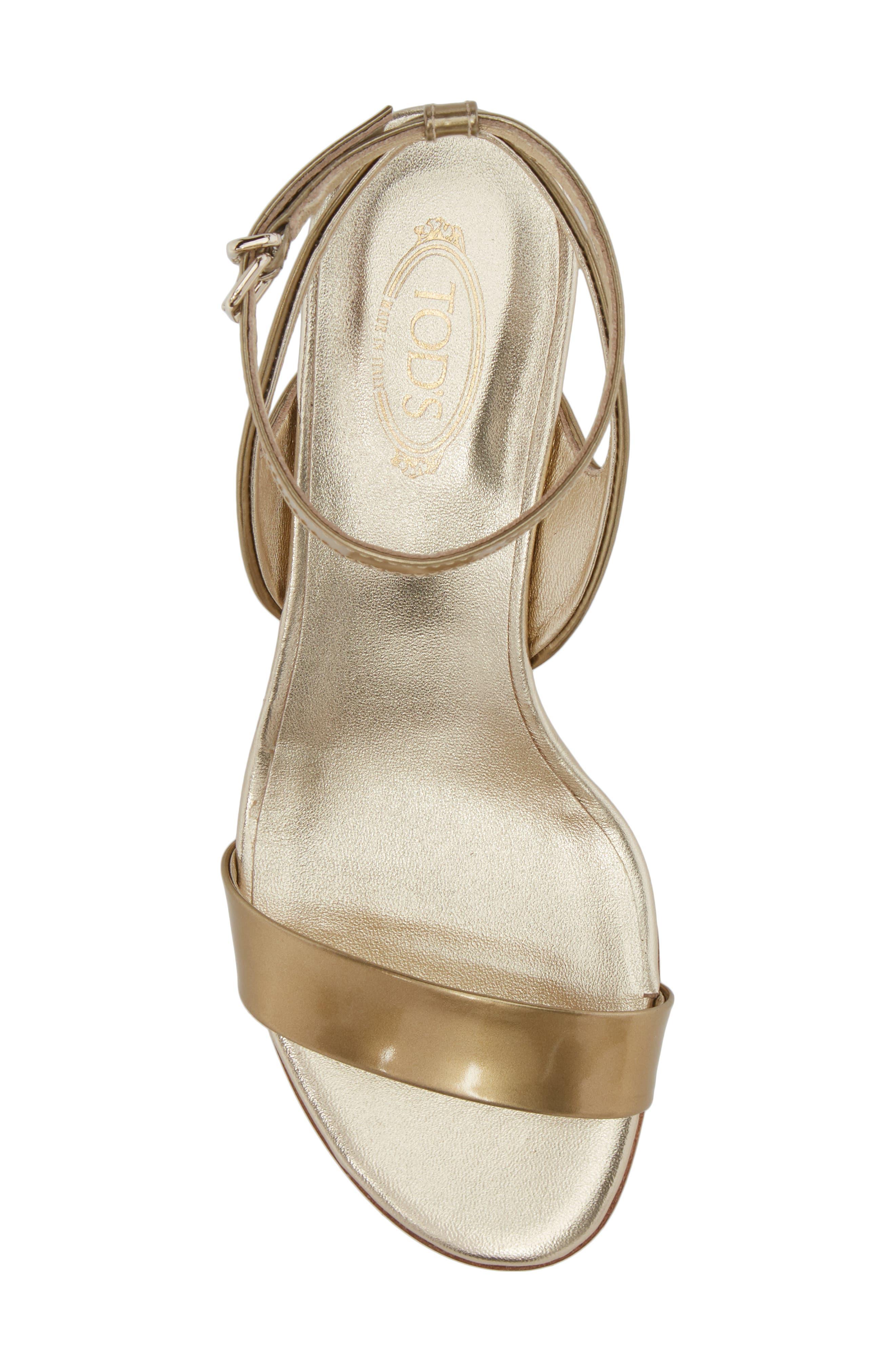 Gommini Block Heel Sandal,                             Alternate thumbnail 5, color,                             Gold