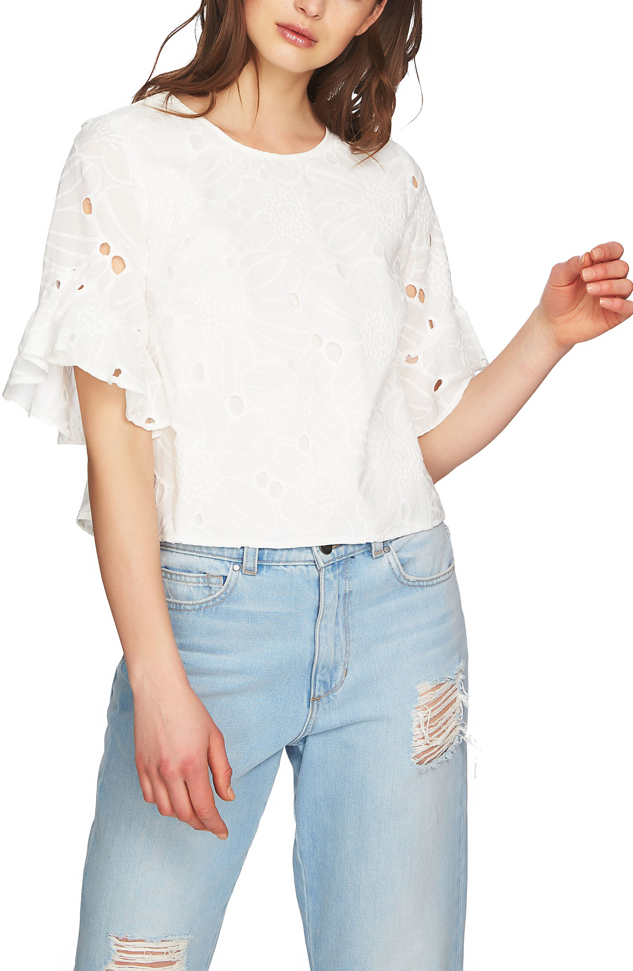 Embroidered Ruffle Eyelet Top,                             Main thumbnail 1, color,                             New Ivory