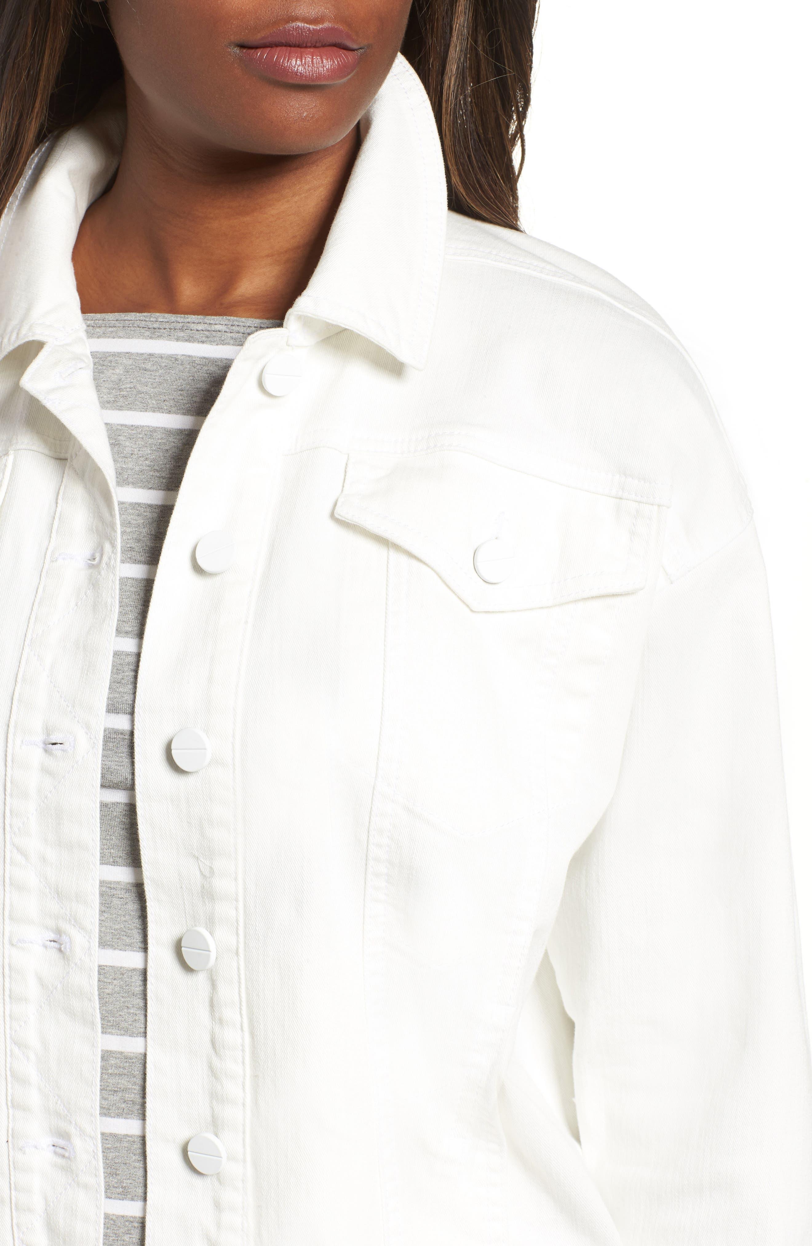 Relaxed White Denim Jacket,                             Alternate thumbnail 4, color,                             White
