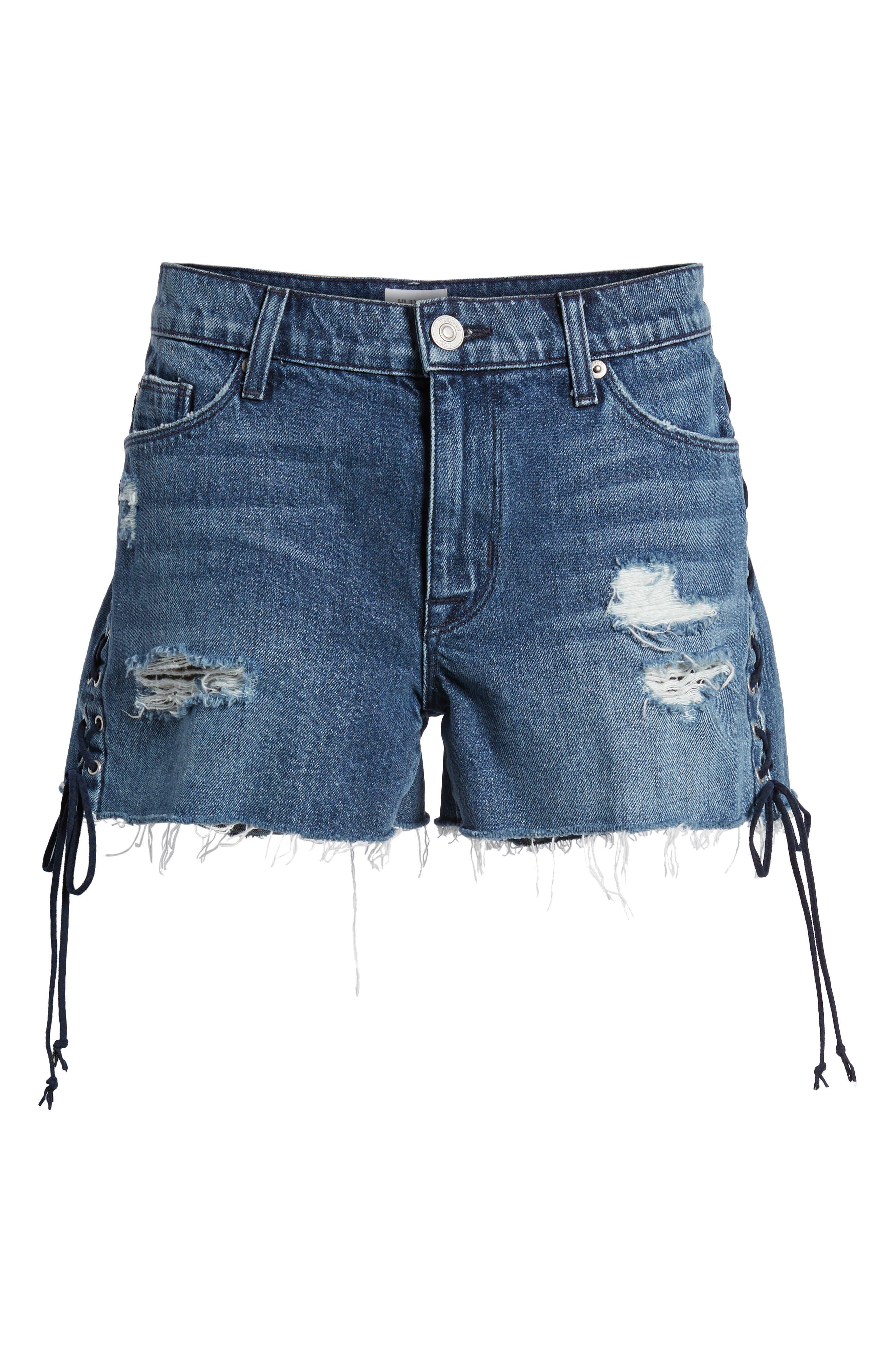 Alternate Image 6  - Hudson Jeans Sade Lace-Up Cutoff Denim Shorts (Topaz)