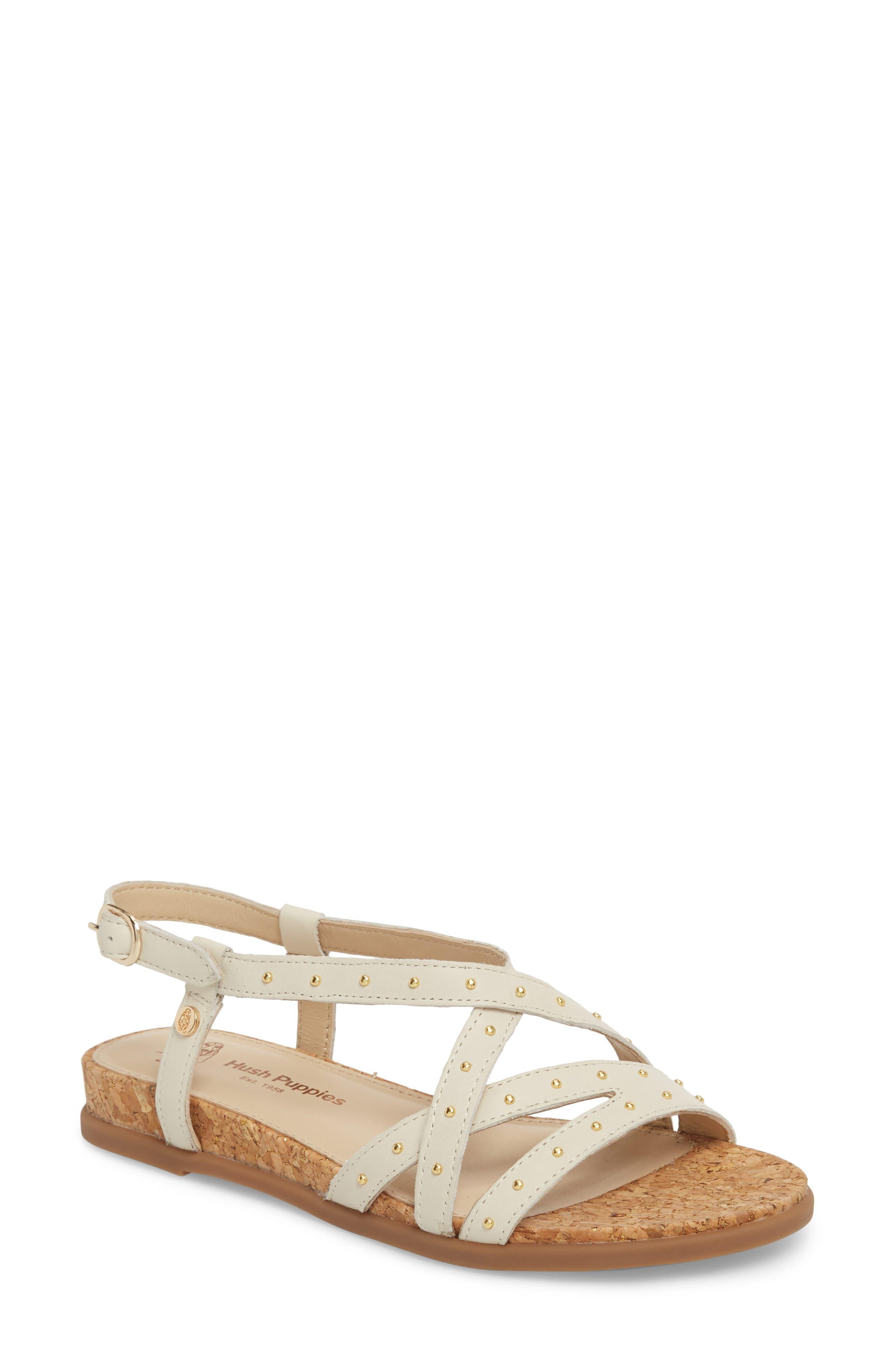 Dalmatian Studded Sandal,                         Main,                         color, Ivory Leather
