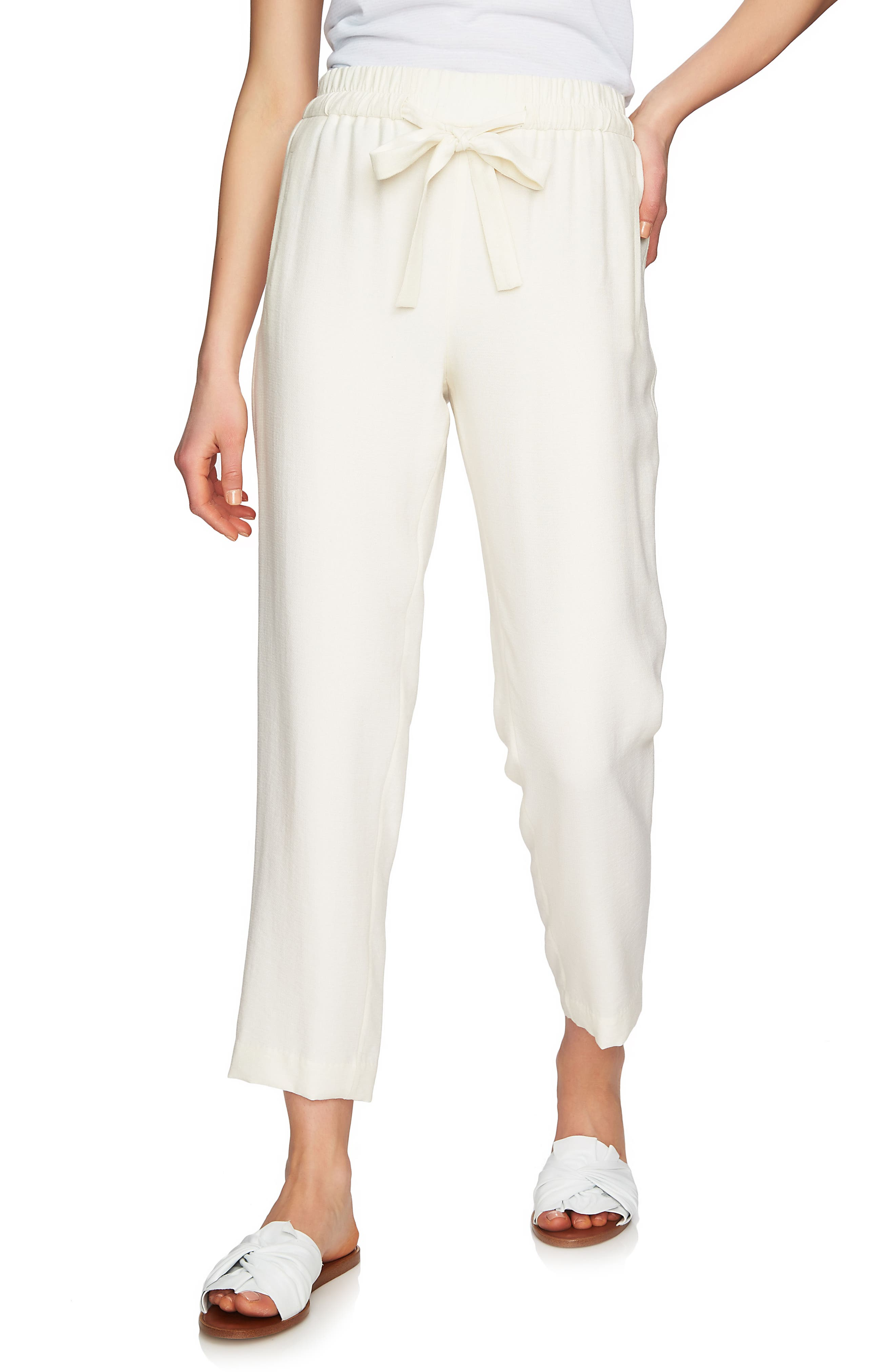 Flat Front Tapered Leg Pants,                         Main,                         color, Antique White