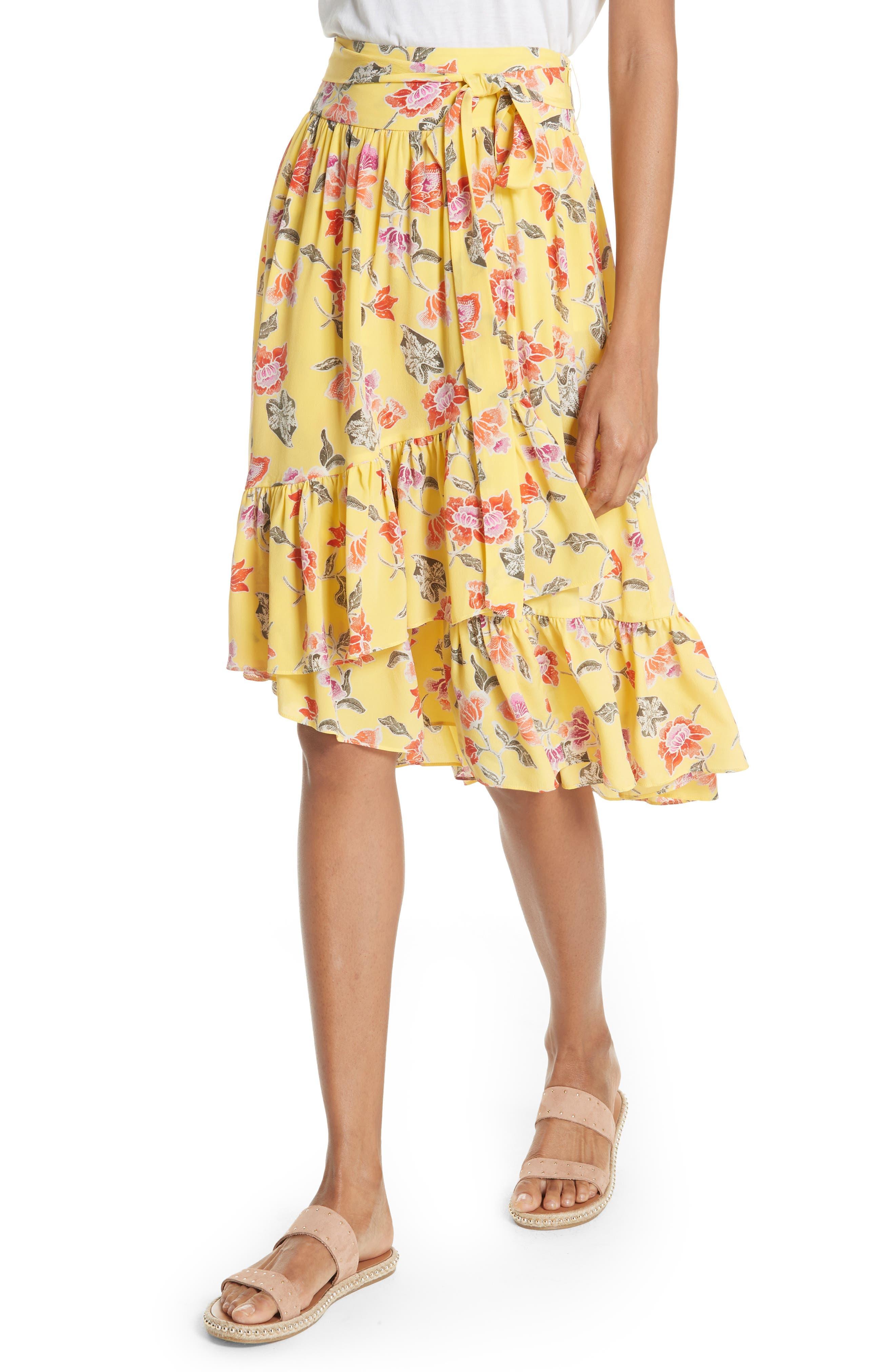 Denisha Floral Ruffle Silk Skirt,                             Alternate thumbnail 4, color,                             Pineapple
