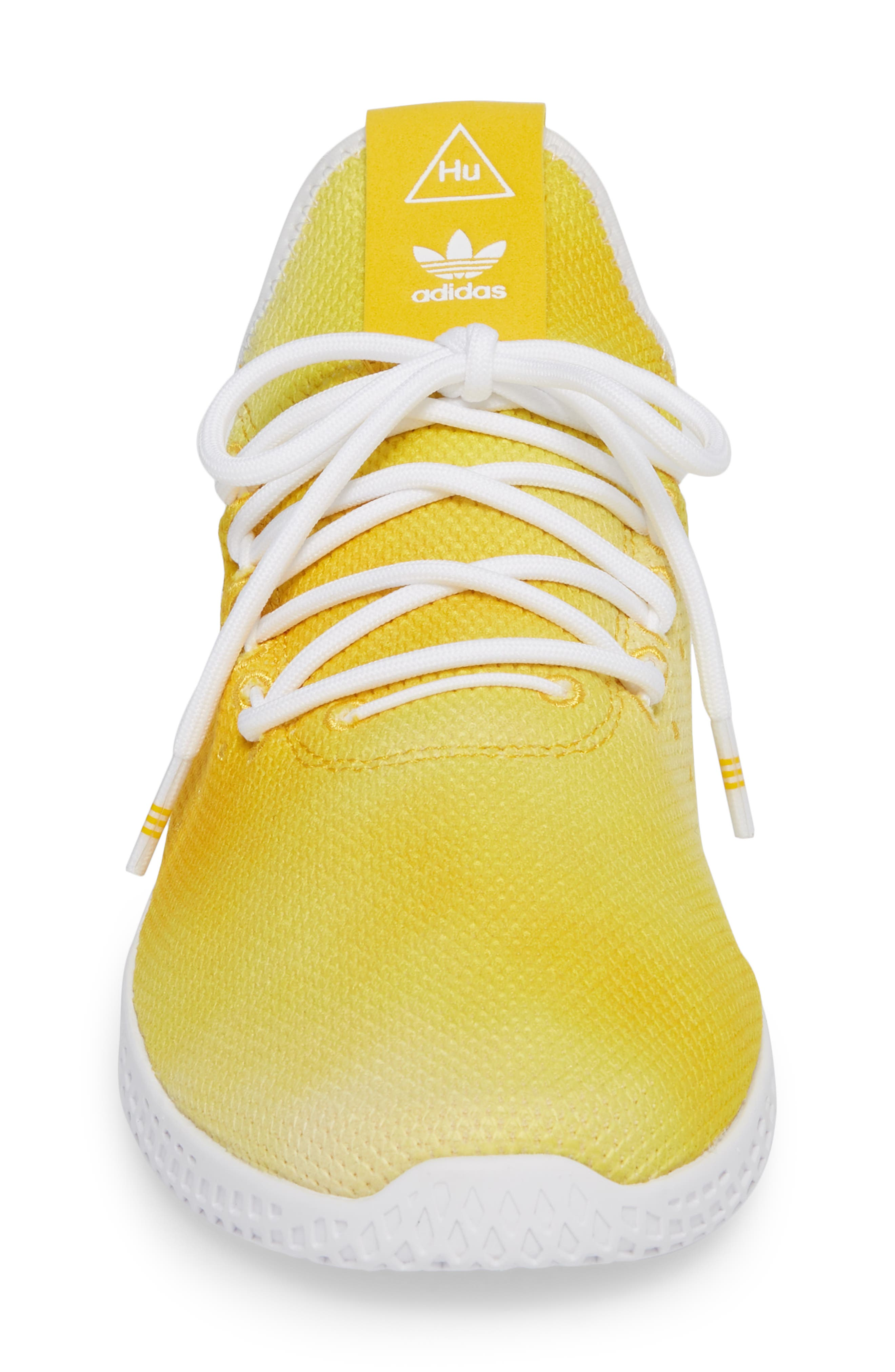 Pharrell Williams Tennis Hu Sneaker,                             Alternate thumbnail 4, color,                             Yellow/ White