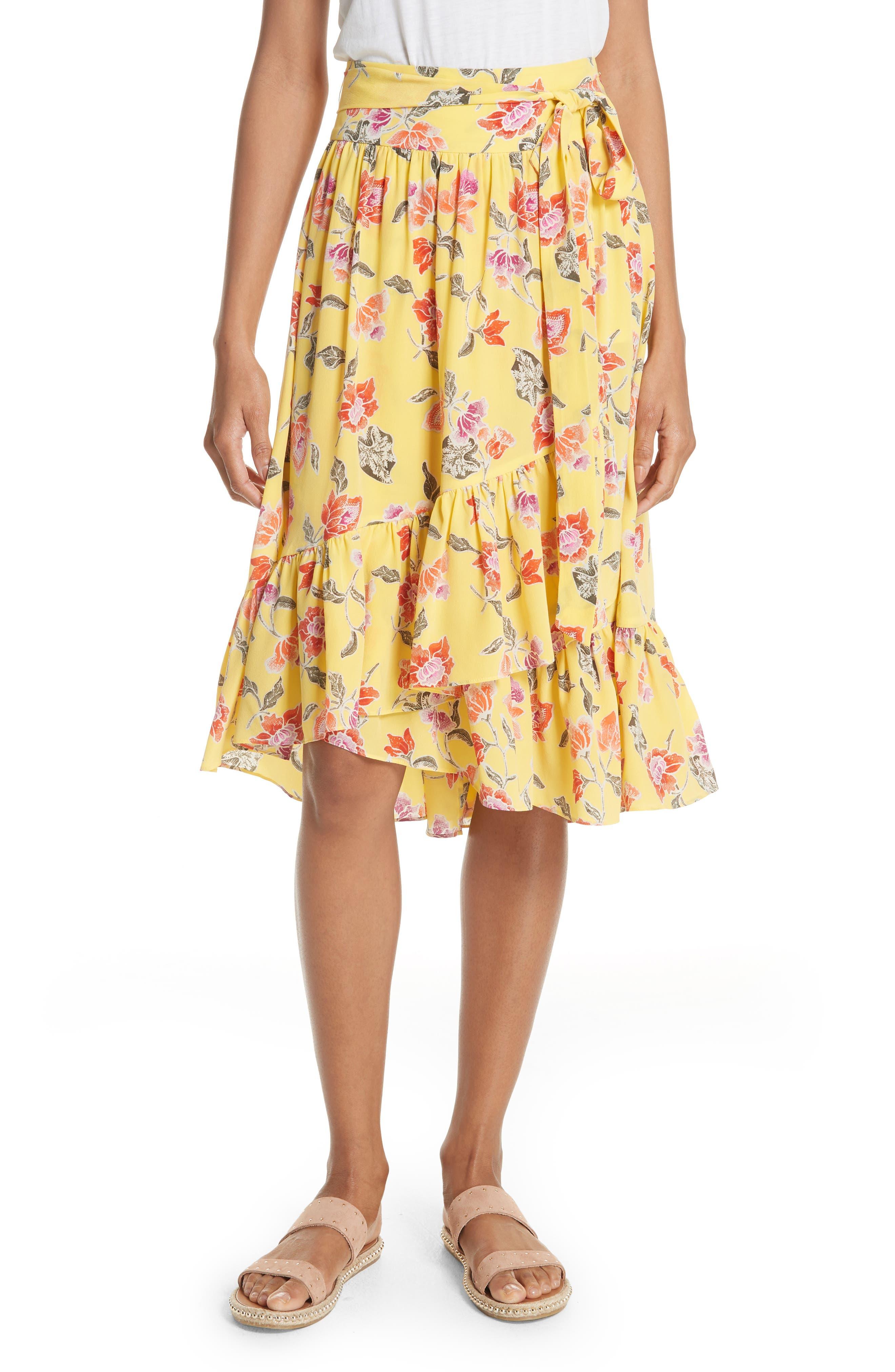 Denisha Floral Ruffle Silk Skirt,                         Main,                         color, Pineapple