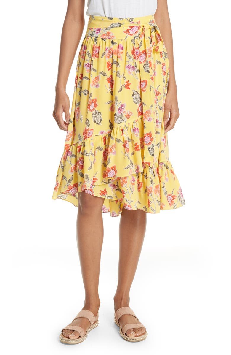 Denisha Floral Ruffle Silk Skirt