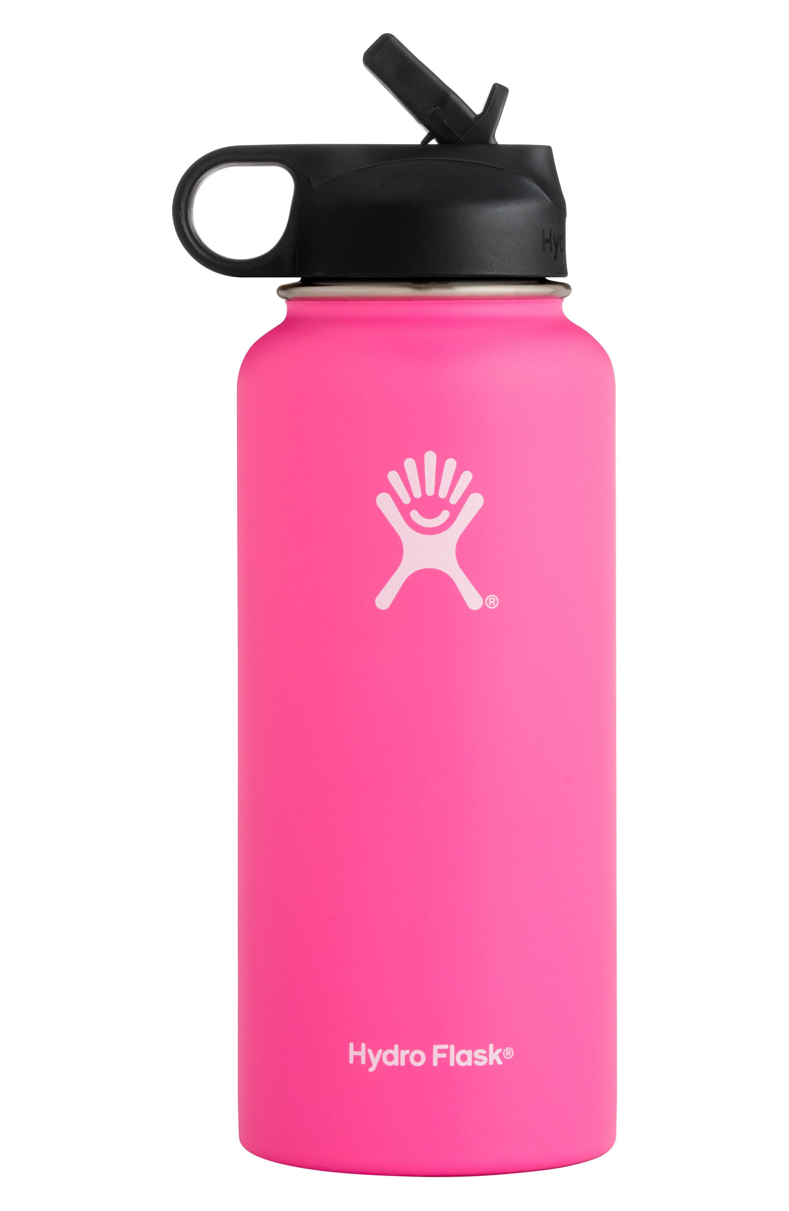 32-Ounce Wide Mouth Bottle with Straw Lid,                             Main thumbnail 1, color,                             Flamingo