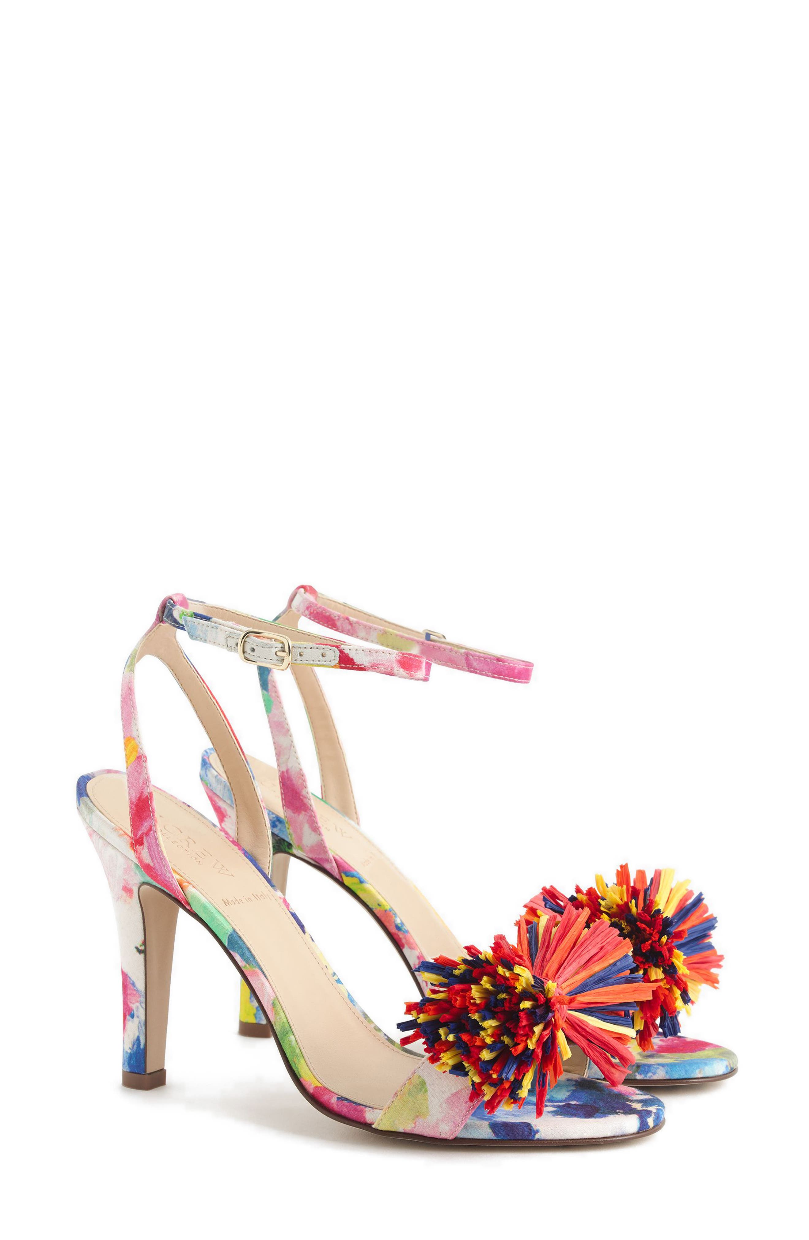 Raffia Bow Strappy Sandal,                             Main thumbnail 1, color,                             Bouquet Multi Fabric