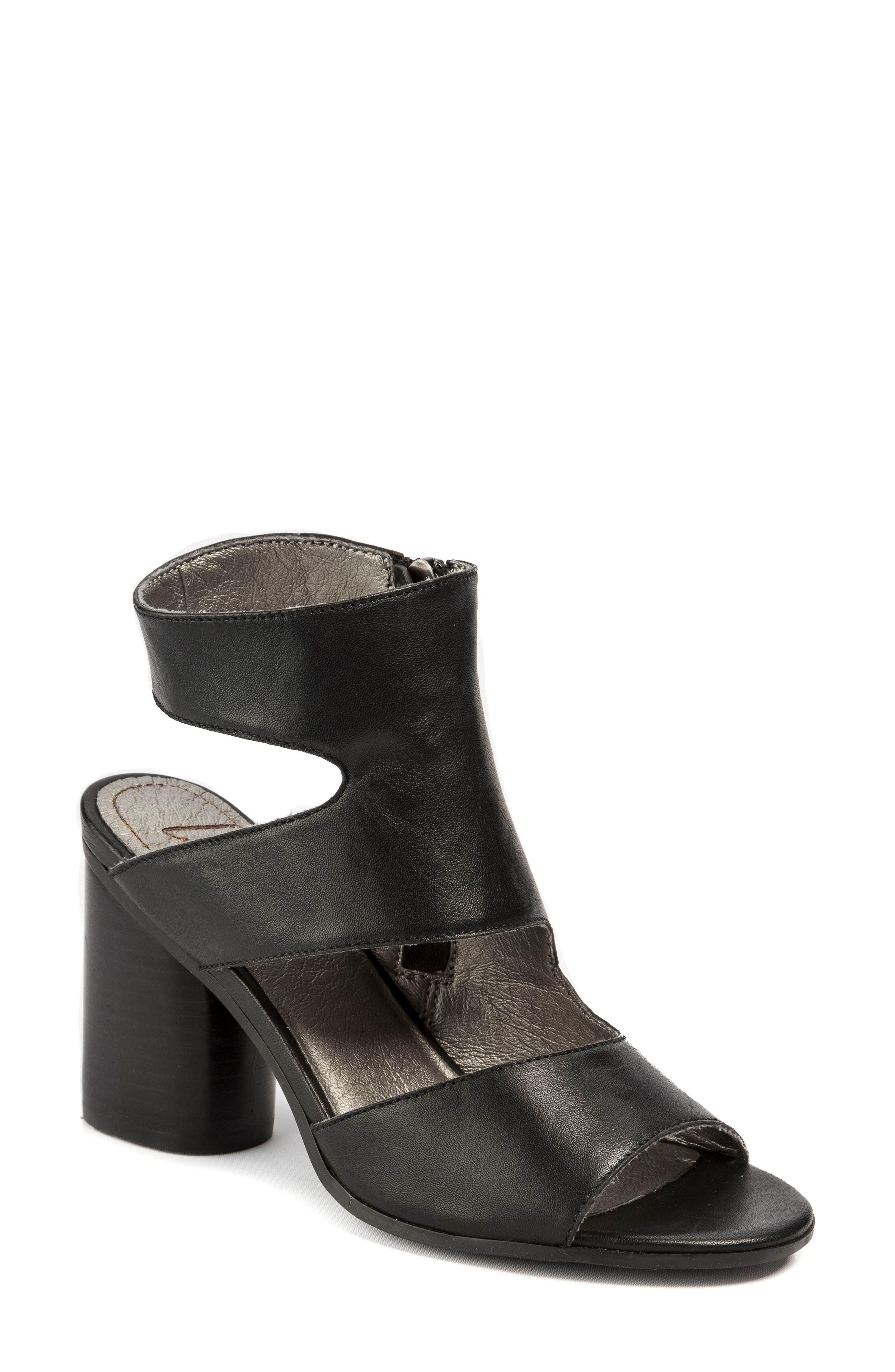 Hadie Asymmetrical Tall Sandal,                         Main,                         color, Black Leather