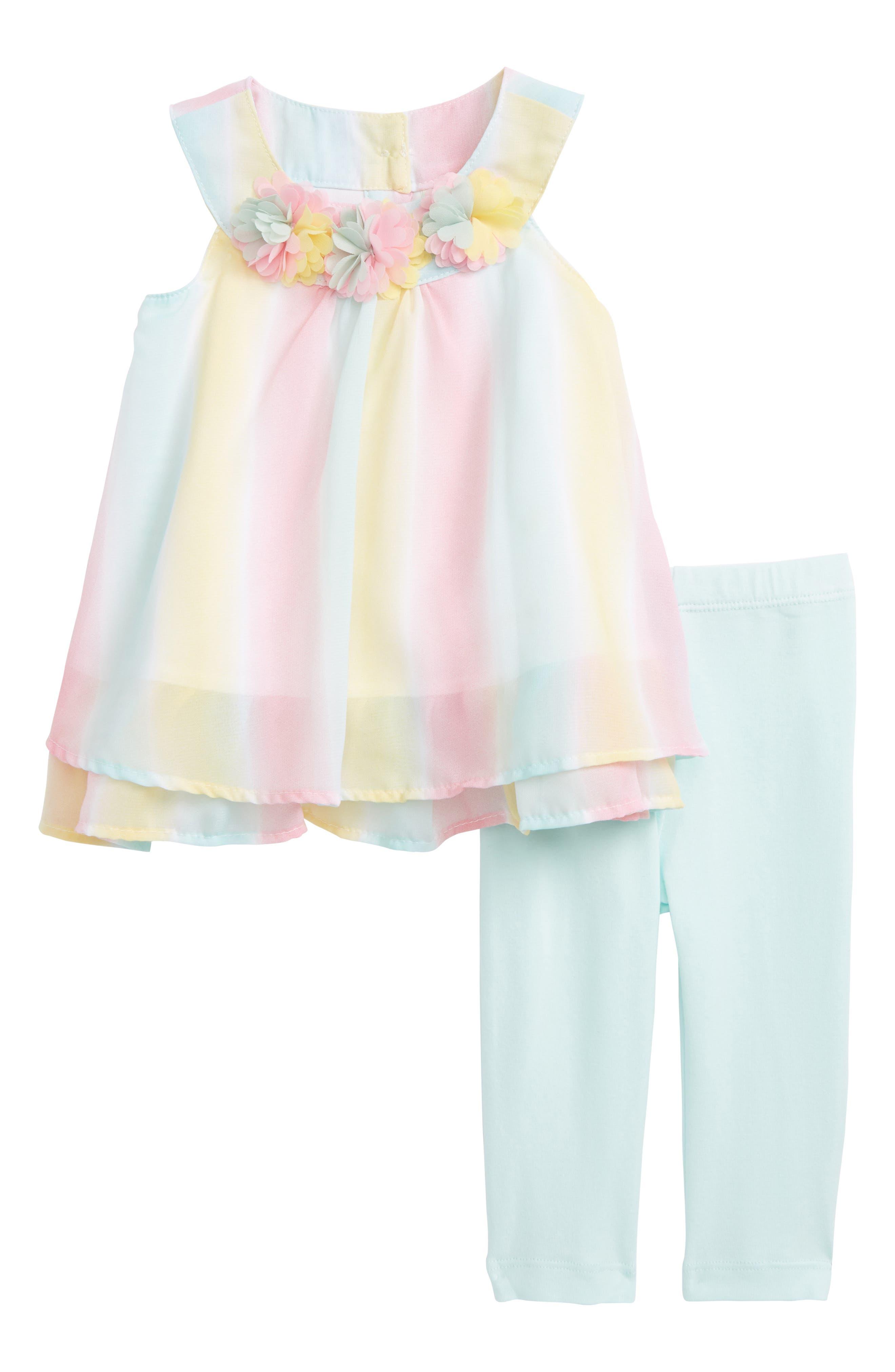 Little Me Stripe Tunic & Leggings Set (Baby Girls)