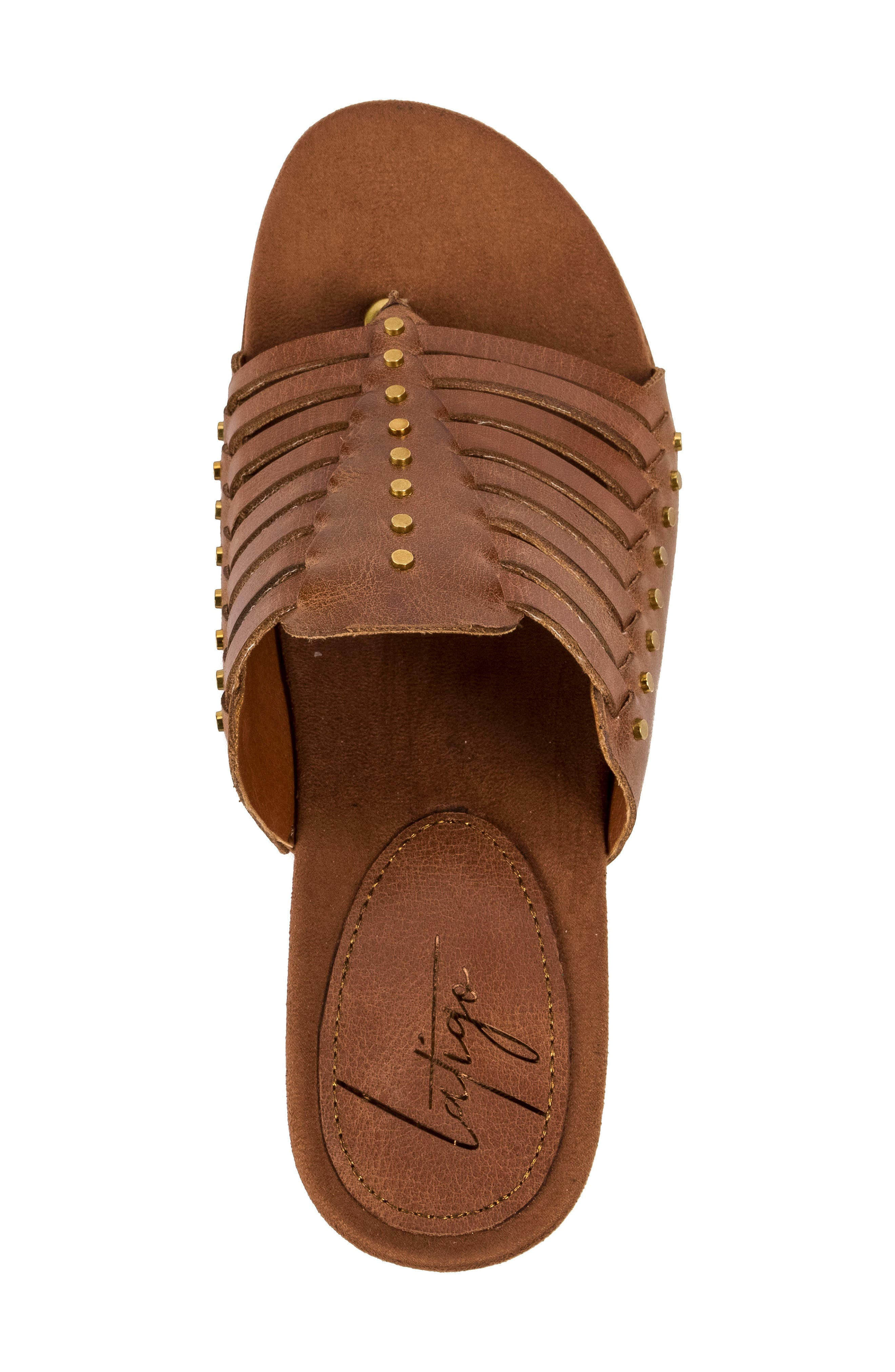 Winnie Wedge Sandal,                             Alternate thumbnail 5, color,                             Brush Brown Leather