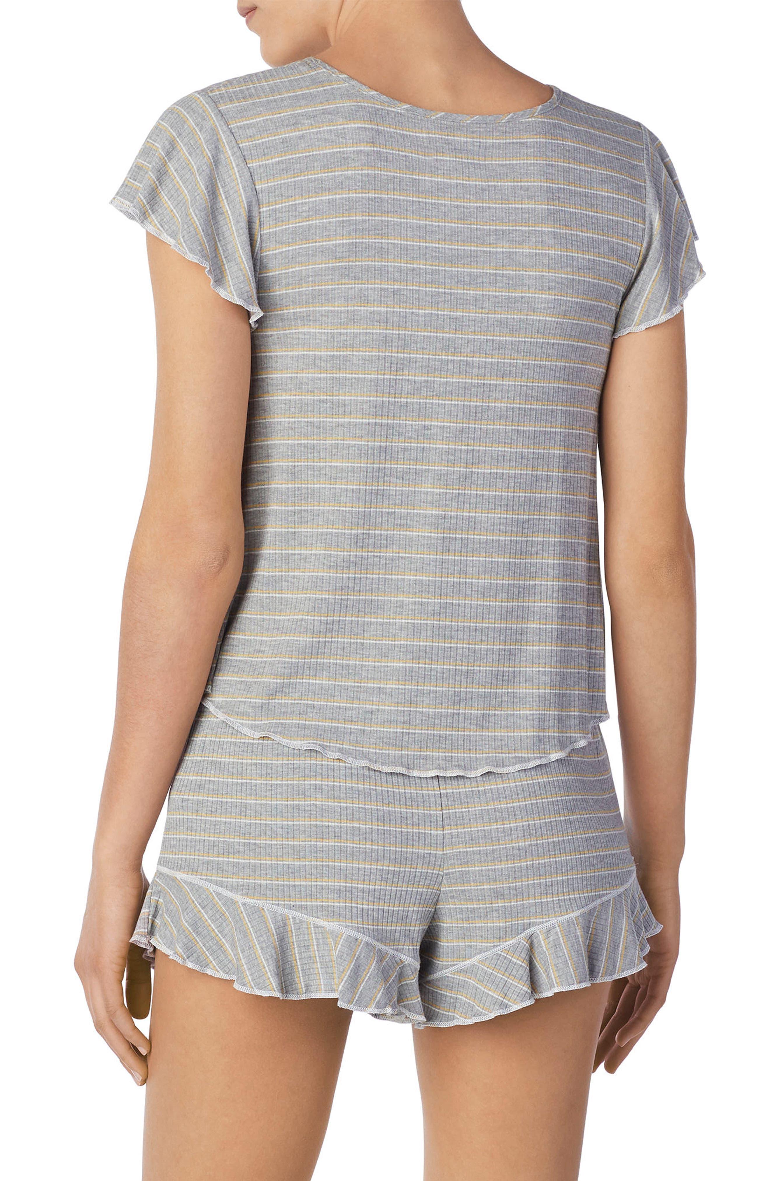 Stripe Short Pajamas,                             Alternate thumbnail 2, color,                             Grey Heather