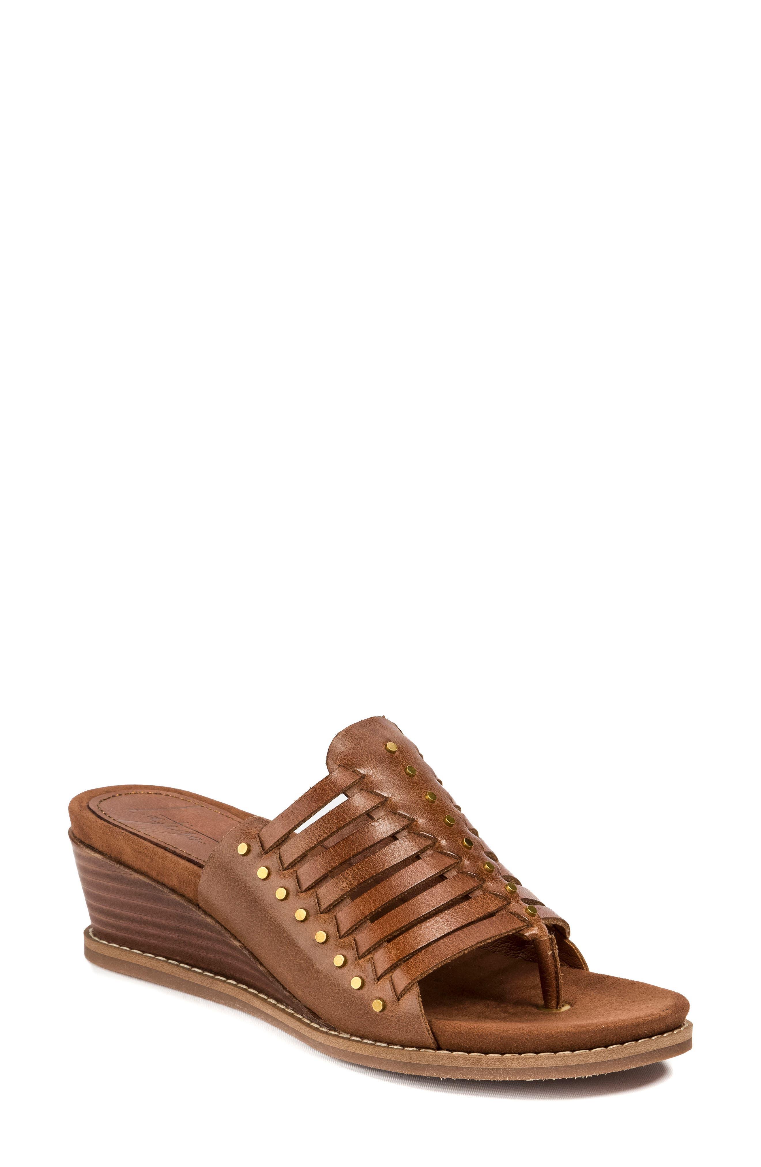 Winnie Wedge Sandal,                             Main thumbnail 1, color,                             Brush Brown Leather