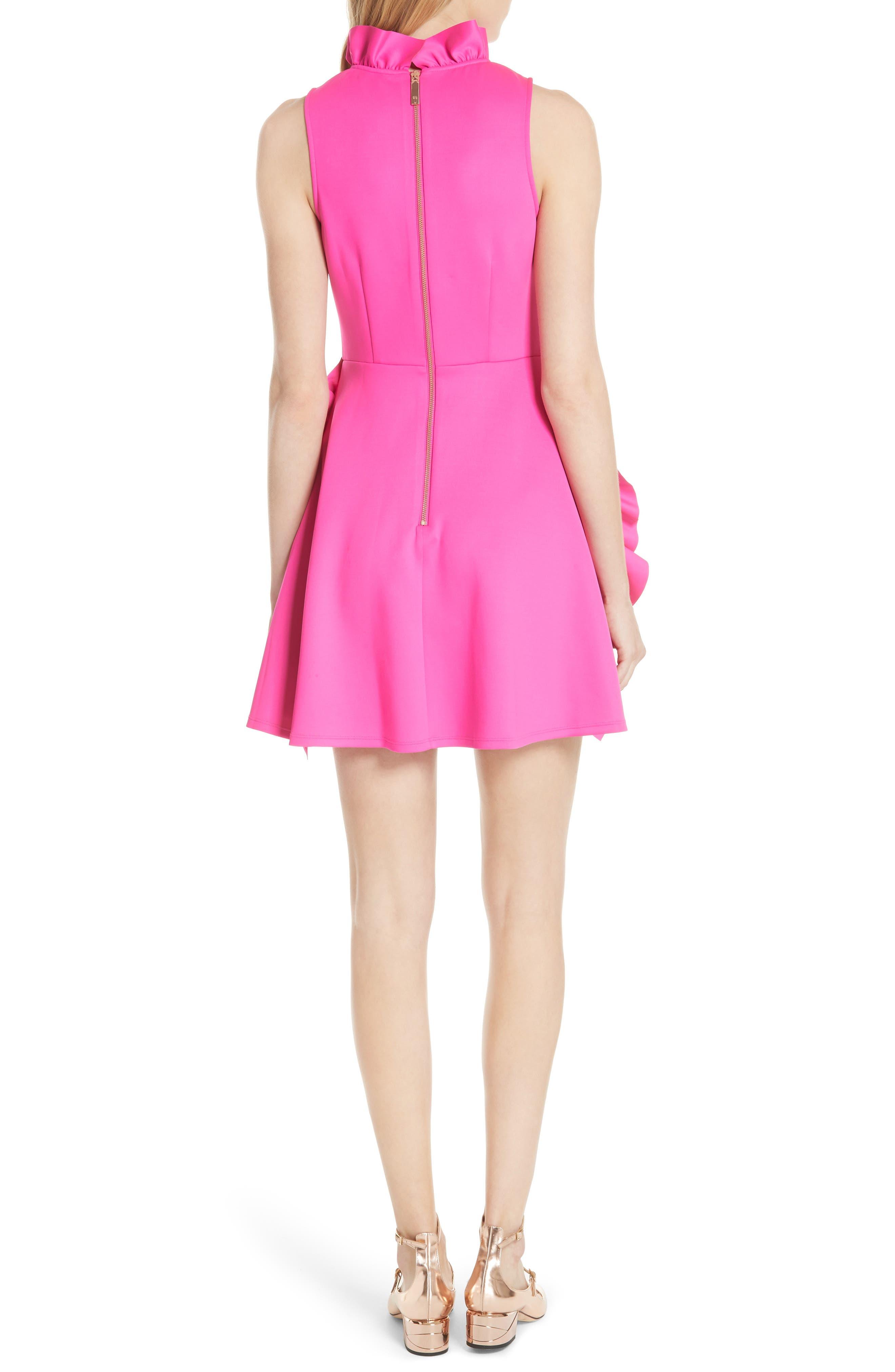 Jannett Laser Cut Ruffle Dress,                             Alternate thumbnail 2, color,                             Neon Pink