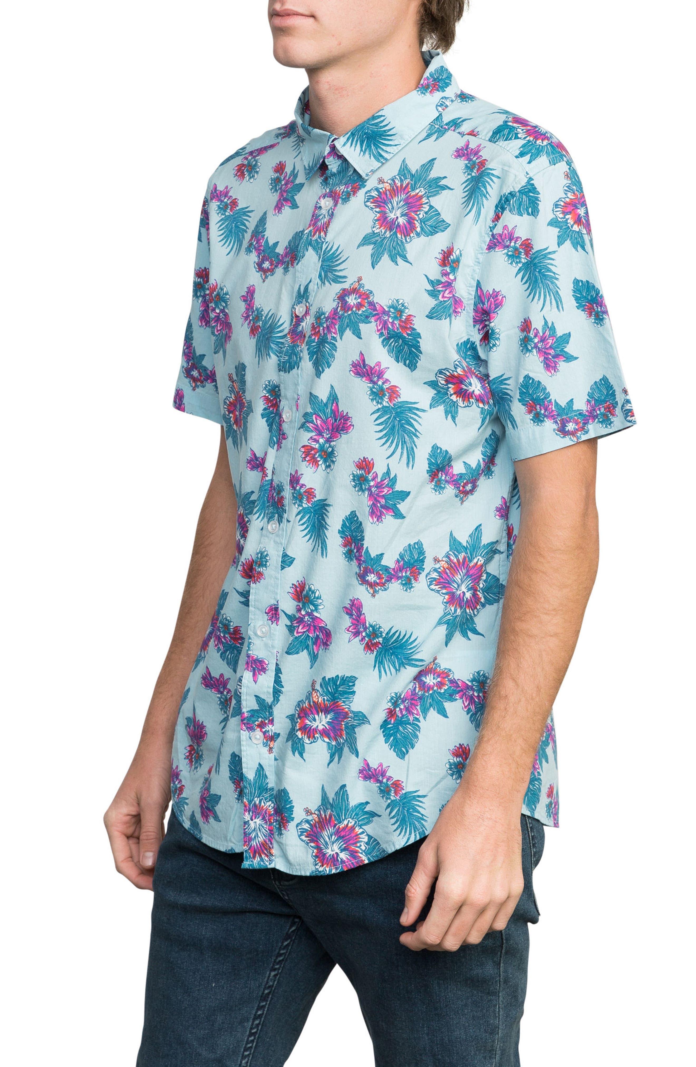 McMillan Floral Woven Shirt,                             Alternate thumbnail 3, color,                             Blue Floral