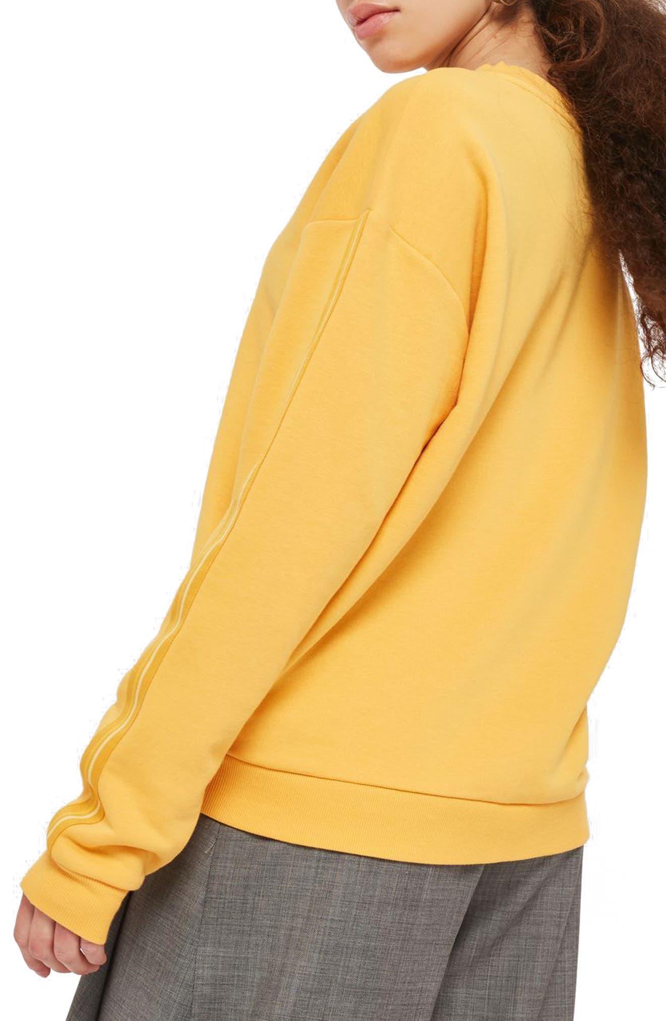 Taped Sleeve Sweatshirt,                             Alternate thumbnail 3, color,                             Mustard