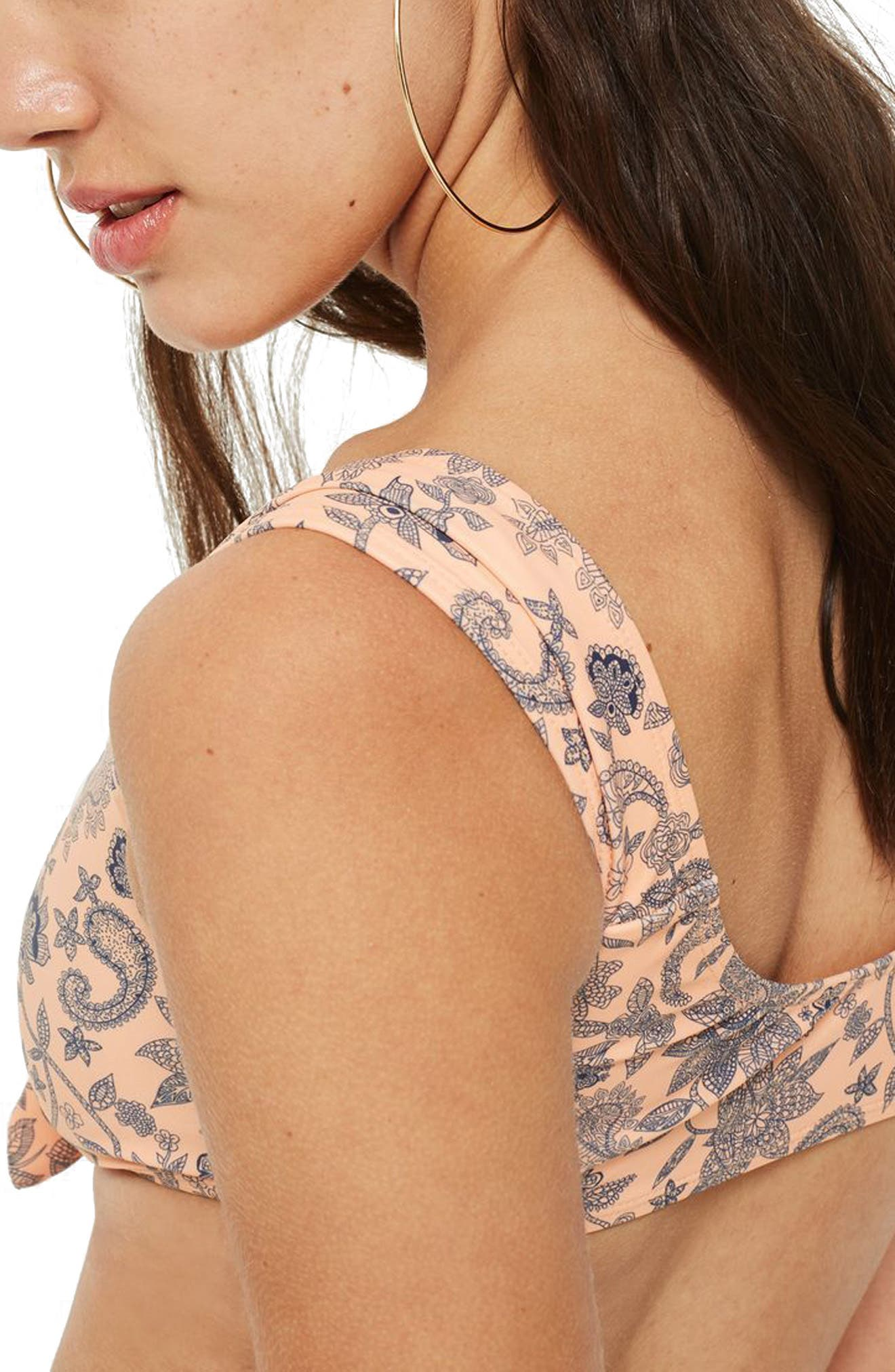 Paisley Tie Front Crop Bikini Top,                             Alternate thumbnail 3, color,                             Coral Multi