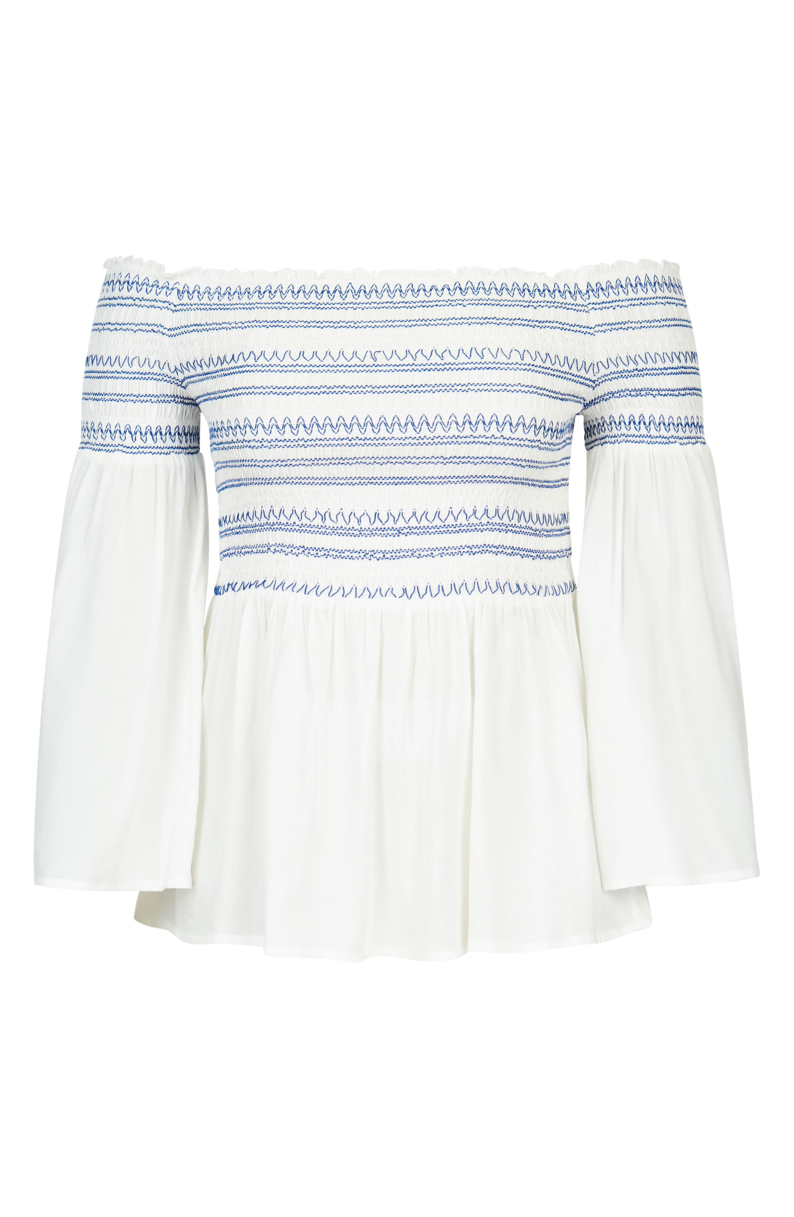 Smocked Off the Shoulder Top,                             Alternate thumbnail 3, color,                             White
