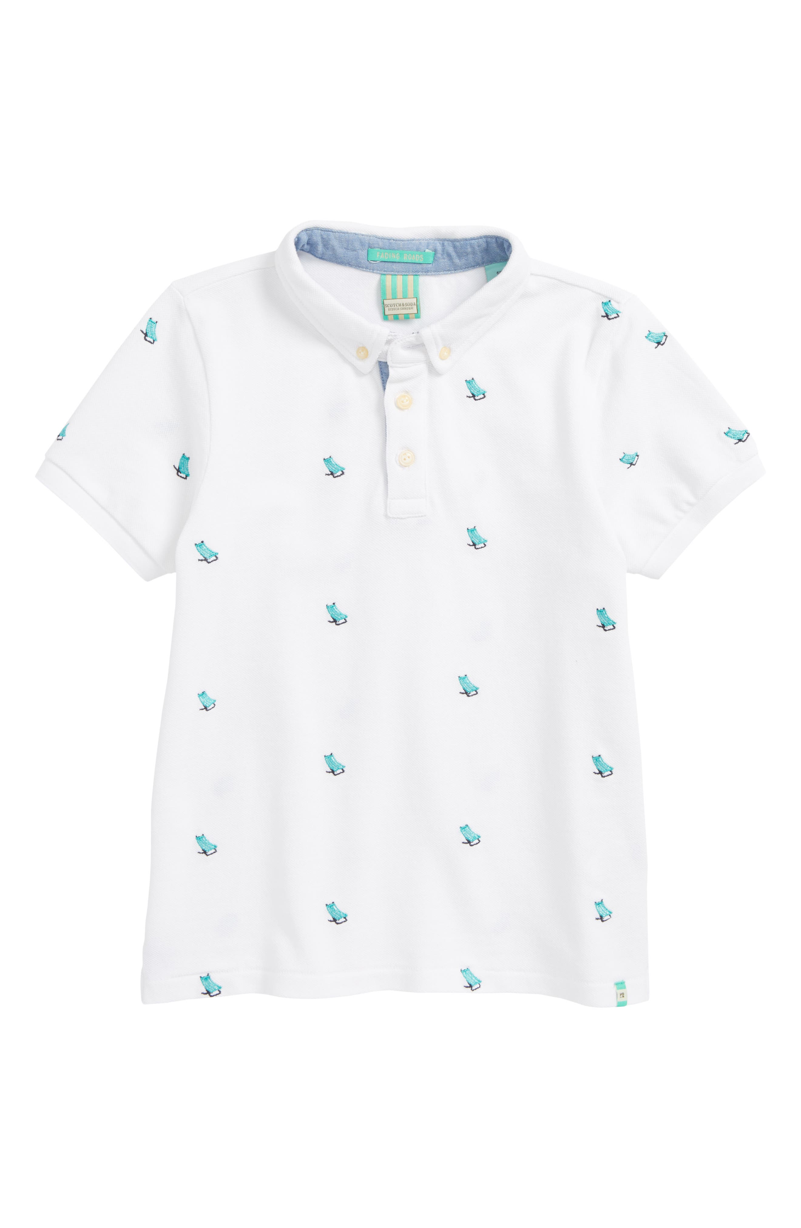 Embroidered Polo,                         Main,                         color, White