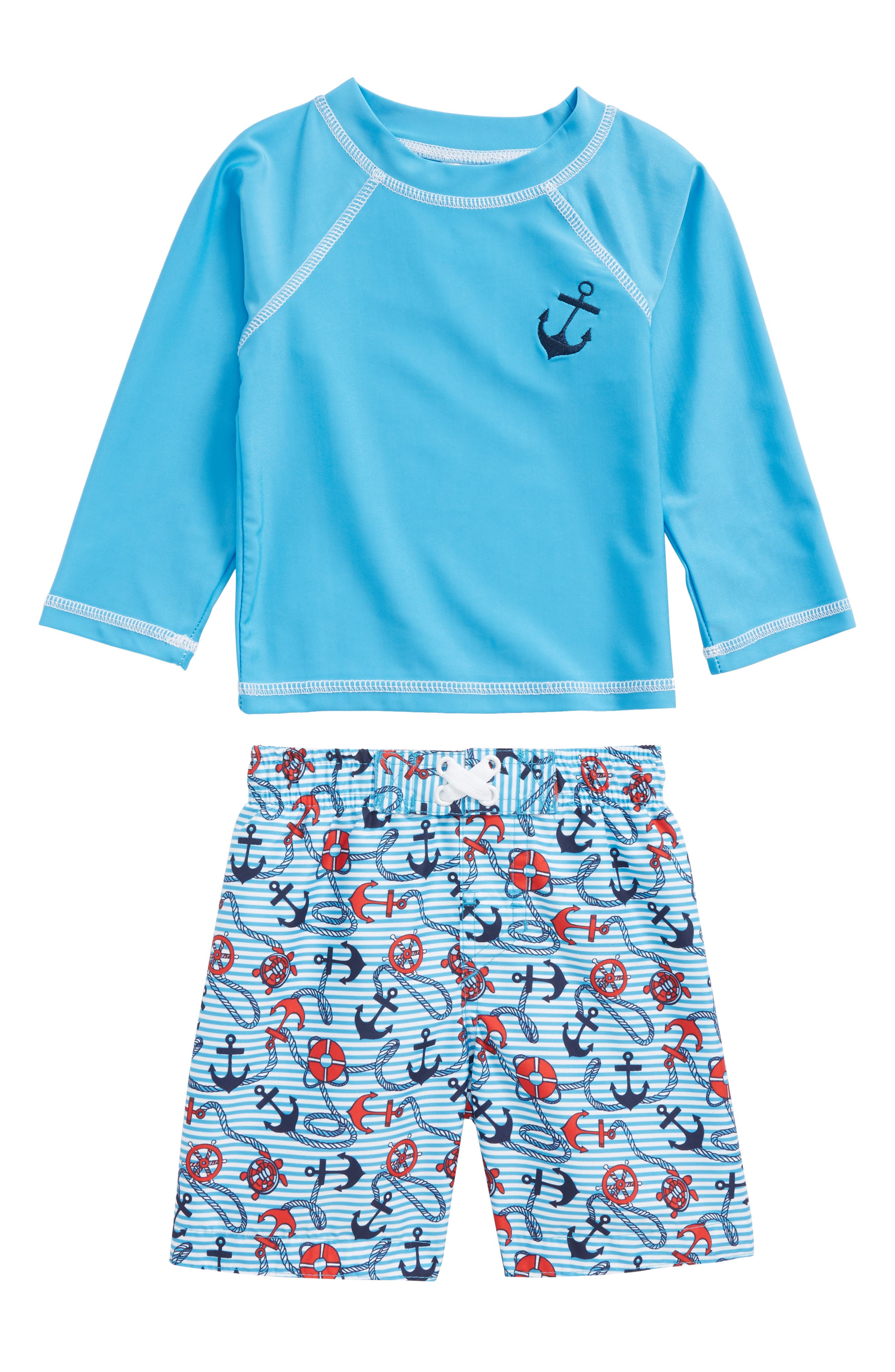 Beachy Nautical Two-Piece Rashguard Swimsuit,                             Main thumbnail 1, color,                             Blue Multi