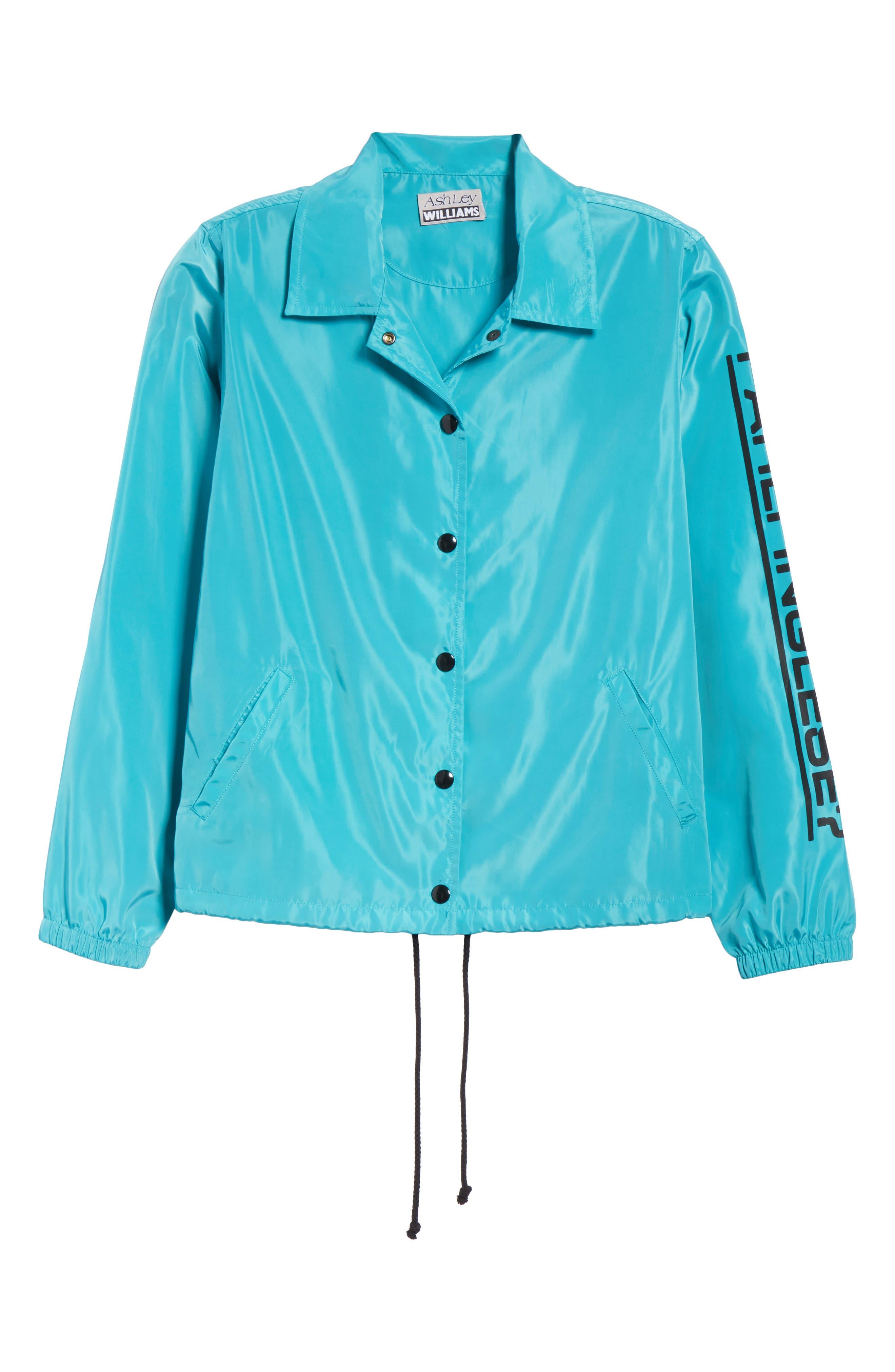 Parli Inglese Coach Jacket,                             Alternate thumbnail 6, color,                             Turquoise