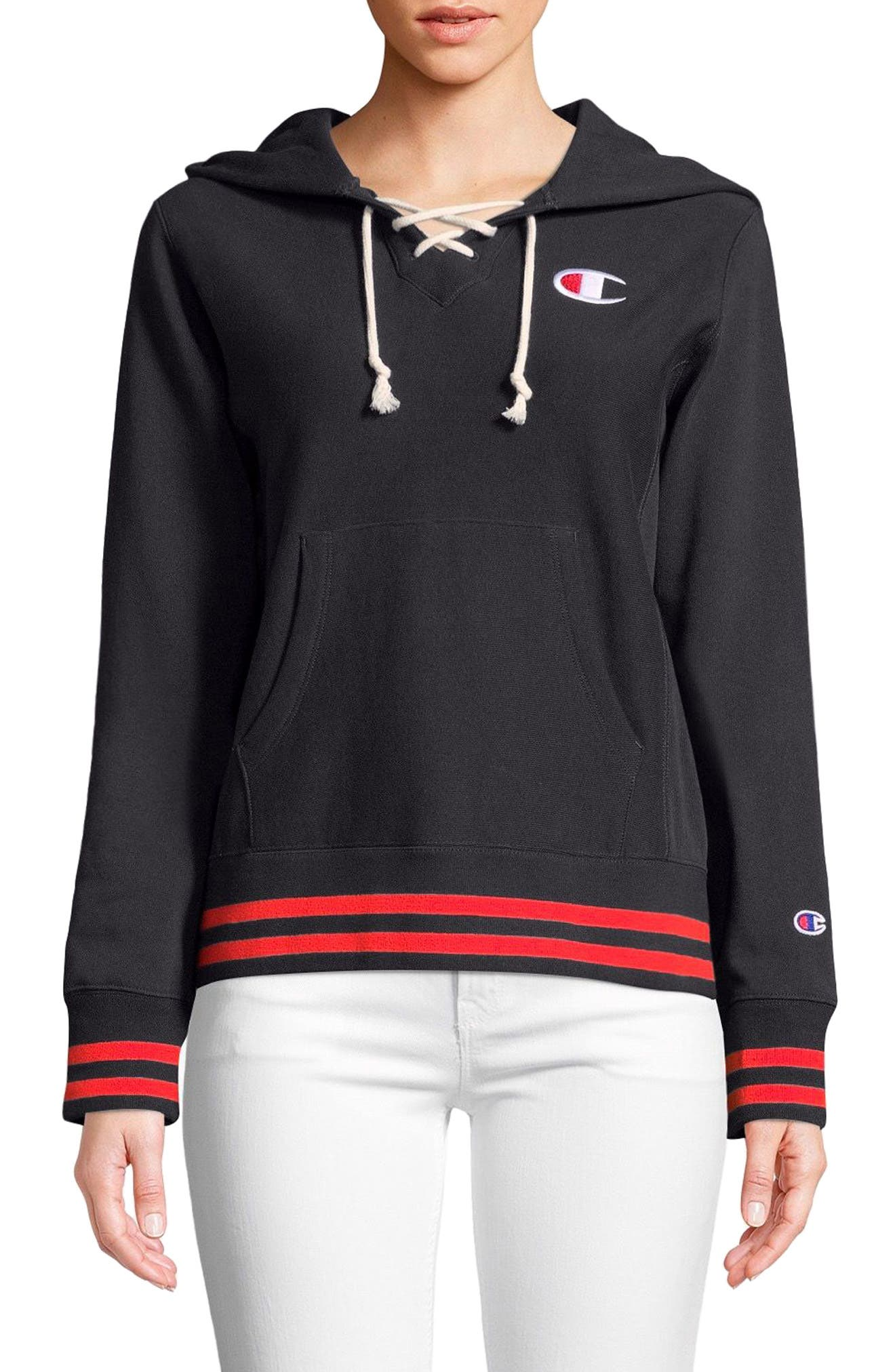 Lace-Up Terry Hoodie,                         Main,                         color, White Stripe