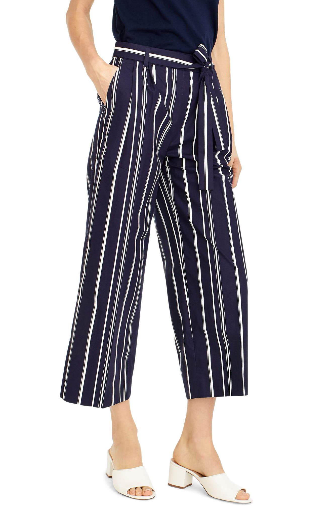 J.Crew Wide Leg Stripe Cotton Poplin Pants (Regular & Petite)