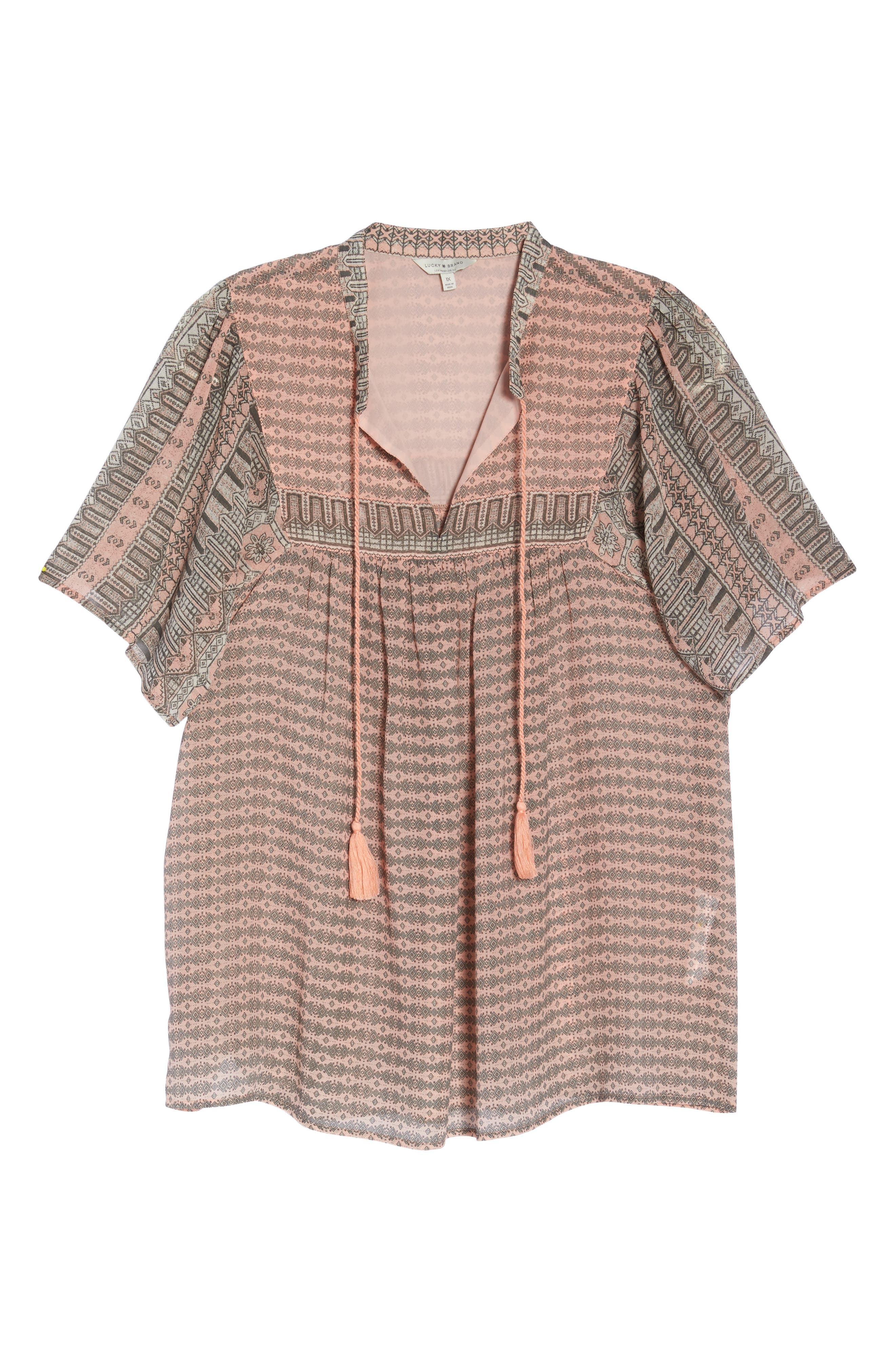 Short Sleeve Print Peasant Top,                             Alternate thumbnail 7, color,                             Pink Multi