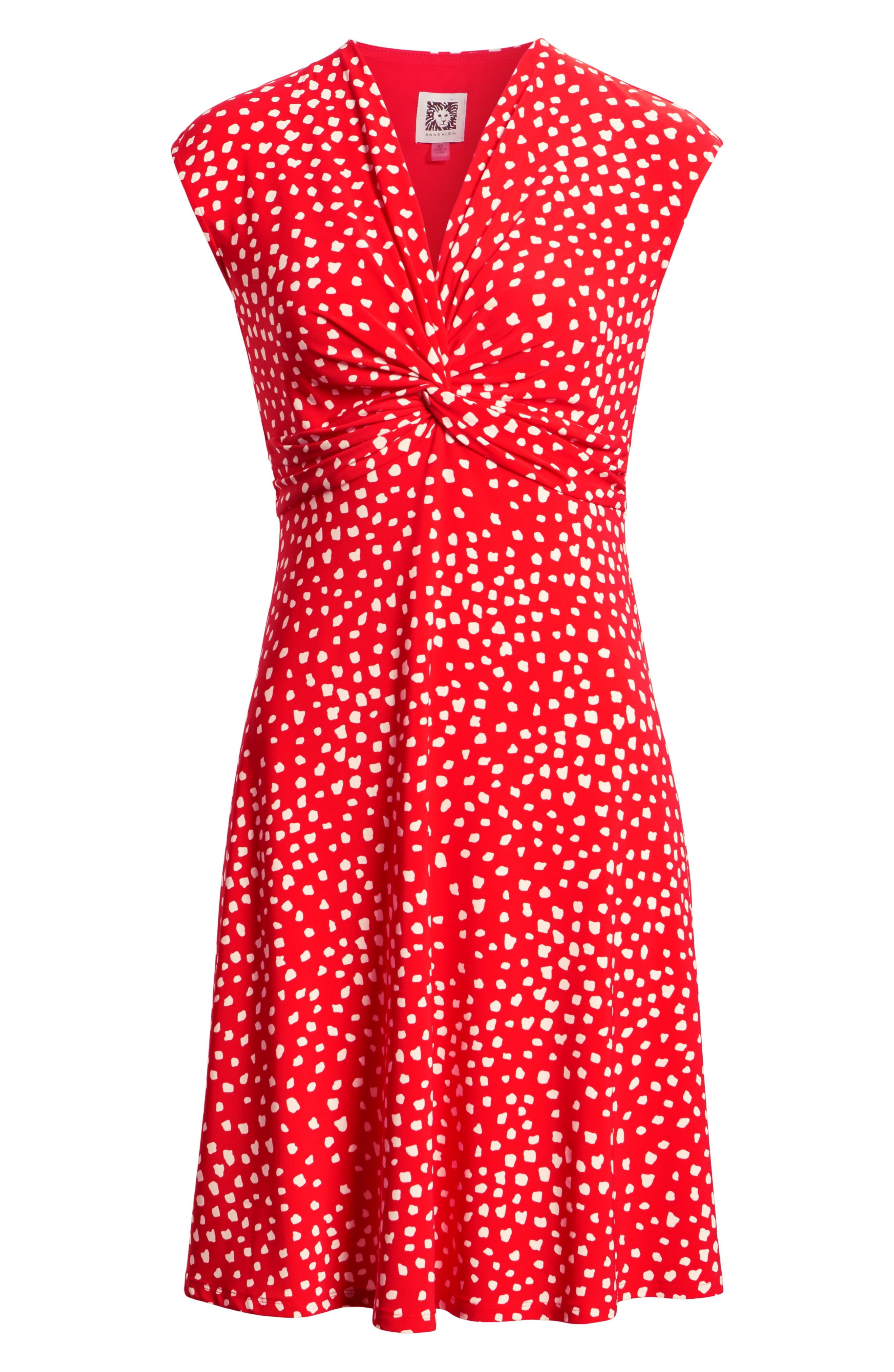 Ceylon Twist Fit and Flare Dress,                             Alternate thumbnail 7, color,                             Tomato/ Parchment Combo