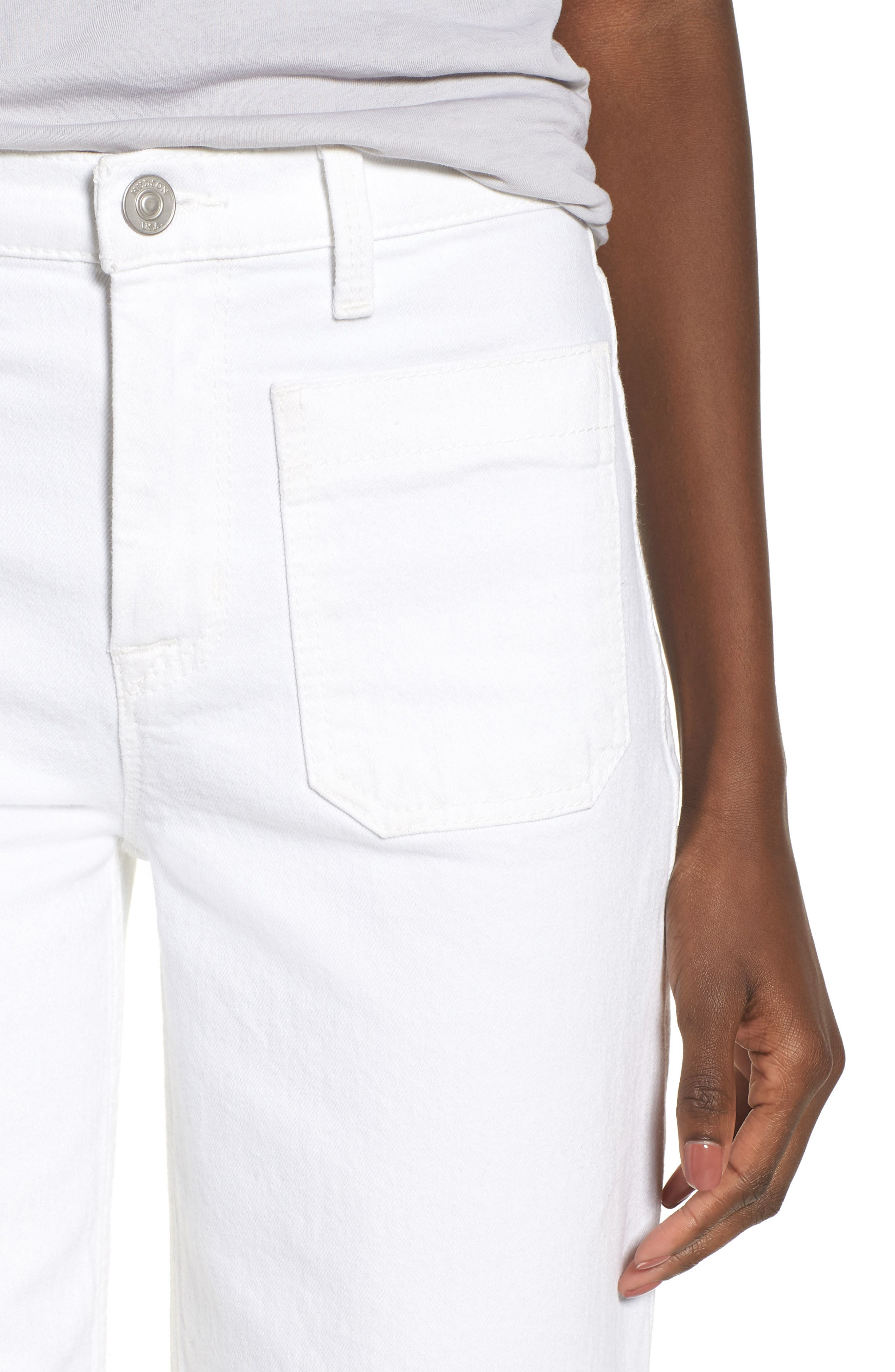 Holly High Waist Raw Hem Crop Wide Leg Jeans,                             Alternate thumbnail 4, color,                             White