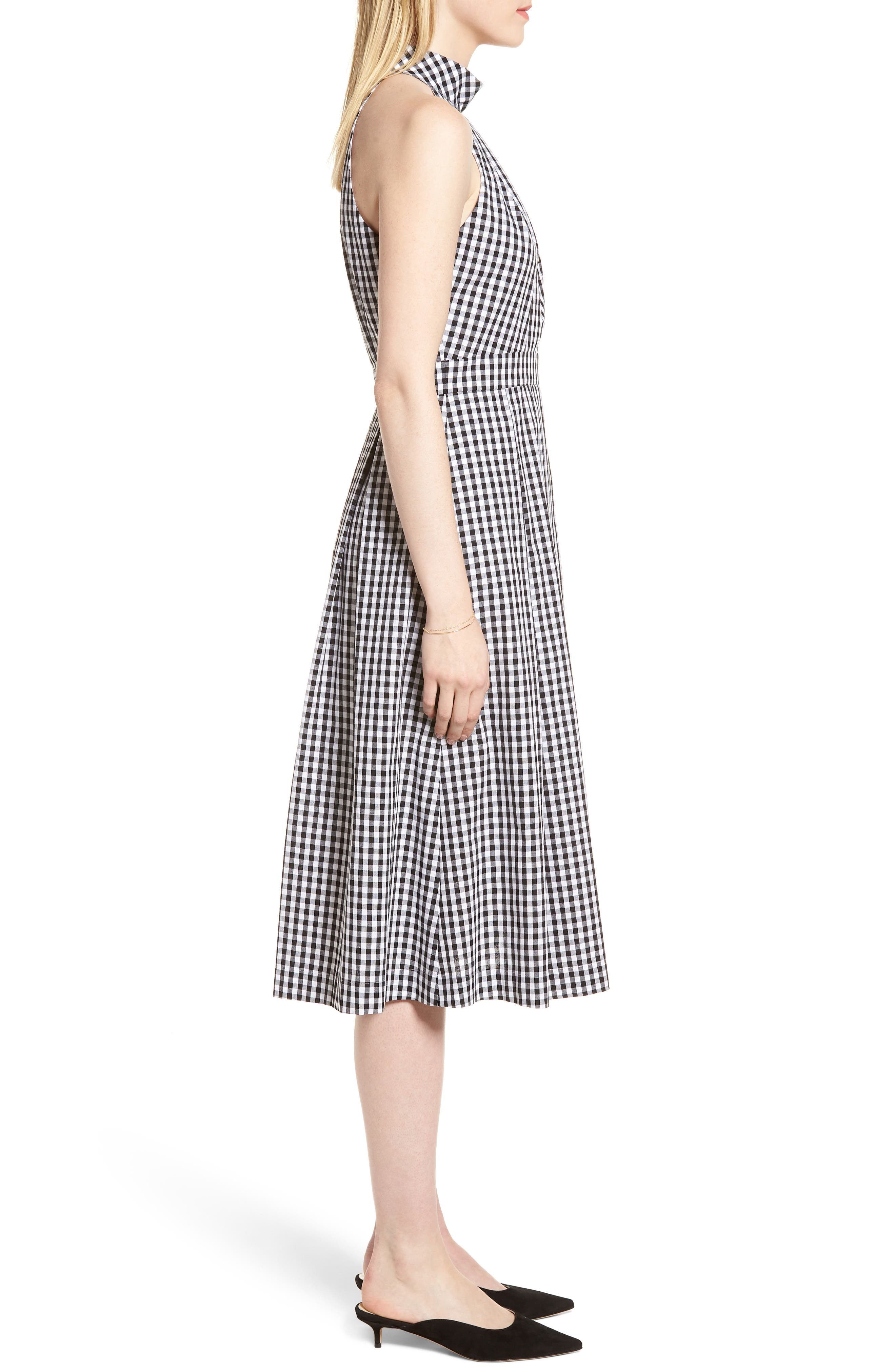 Gingham Halter Dress,                             Alternate thumbnail 3, color,                             Black- White Gingham