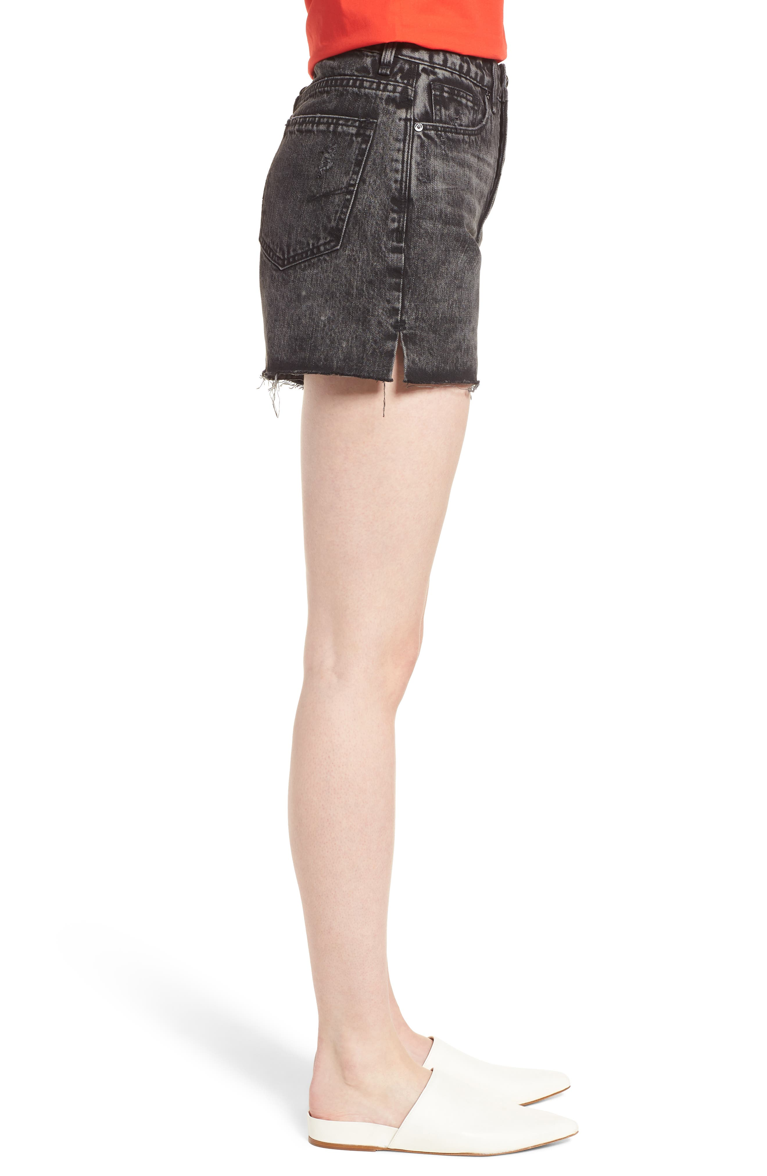 Maddie High Rise Raw Edge Denim Shorts,                             Alternate thumbnail 3, color,                             Obsidian