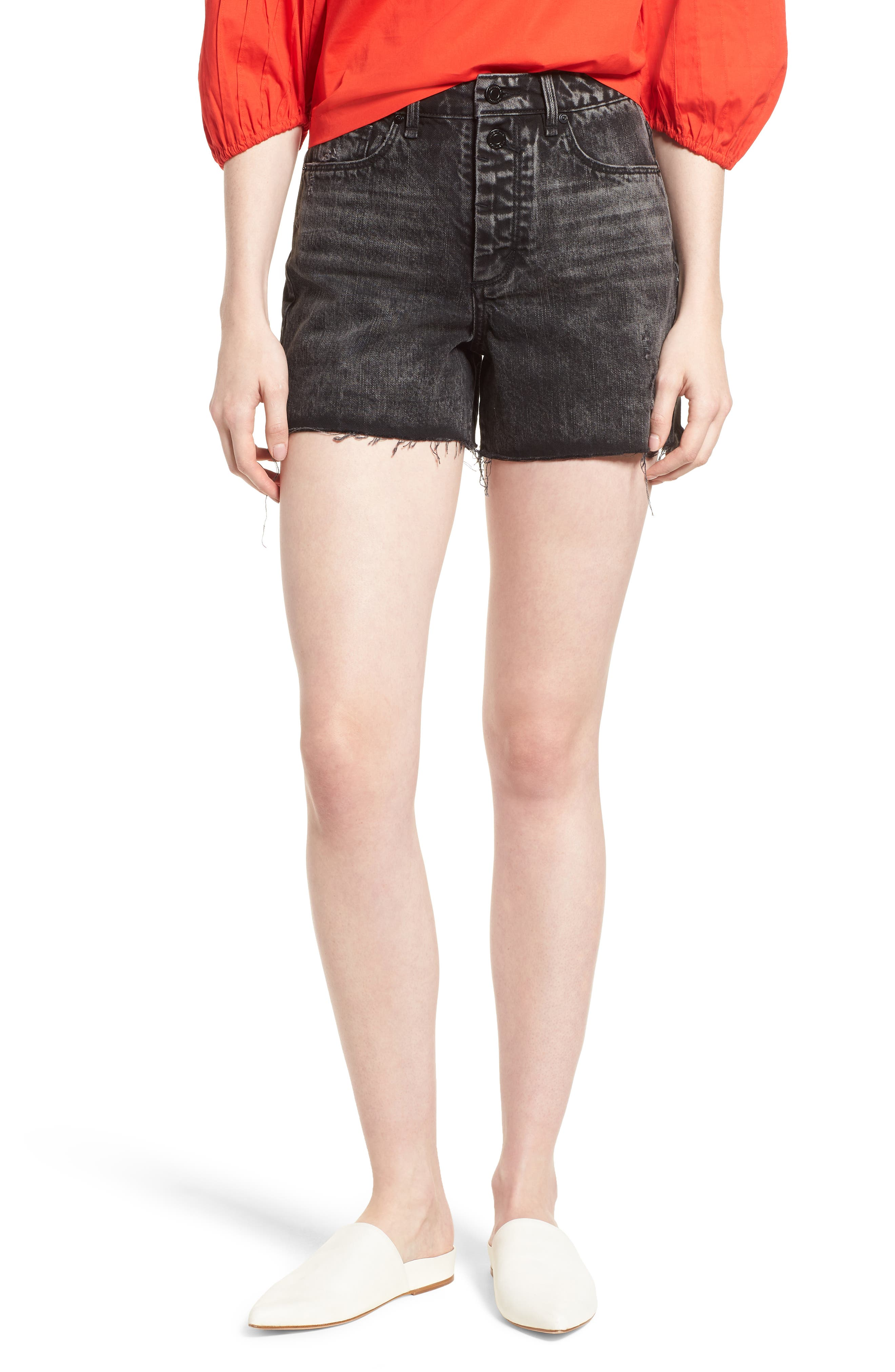 Maddie High Rise Raw Edge Denim Shorts,                             Main thumbnail 1, color,                             Obsidian
