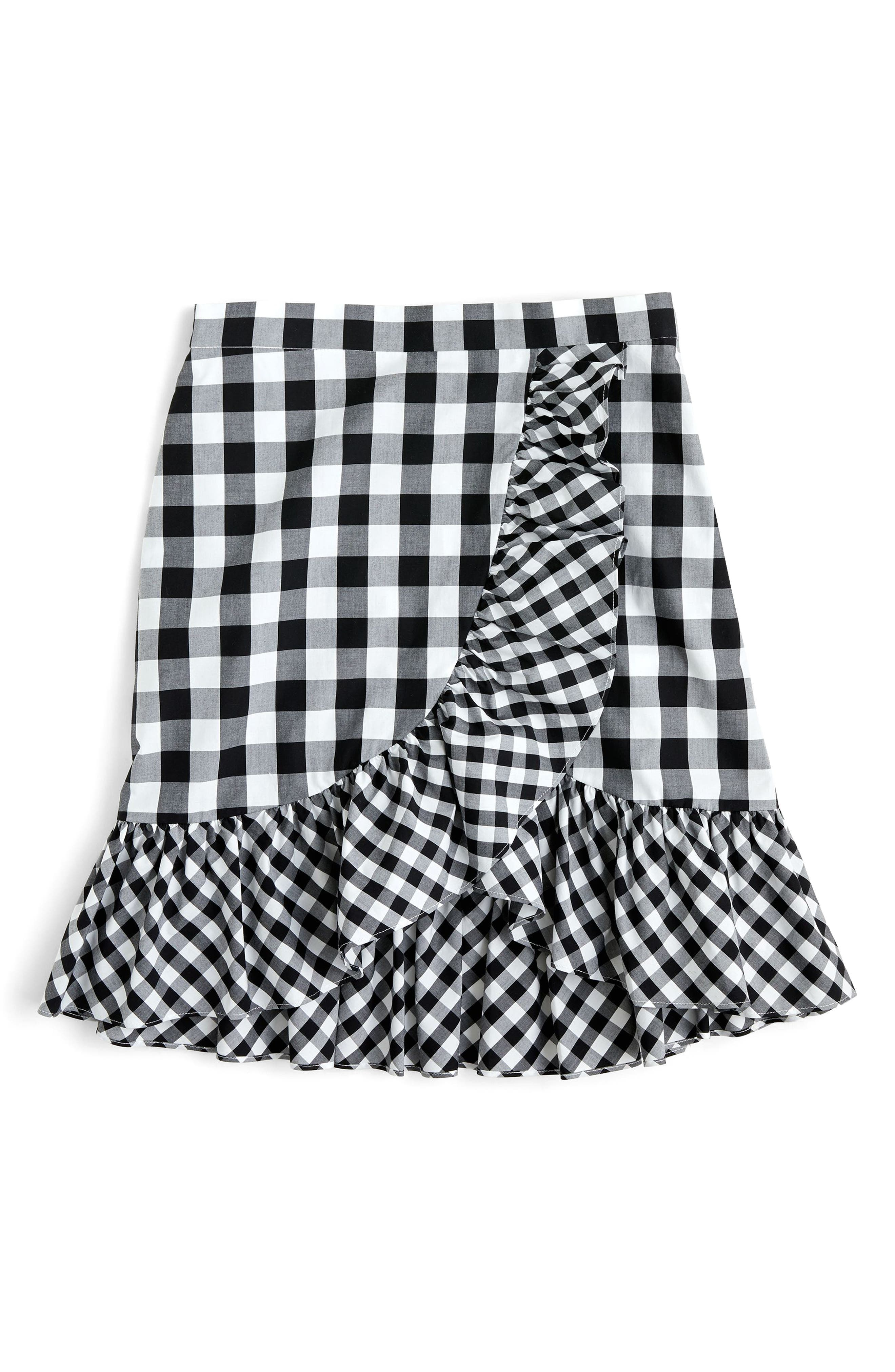 Pistachio Gingham Cotton Poplin Ruffle Skirt,                             Alternate thumbnail 4, color,                             Black