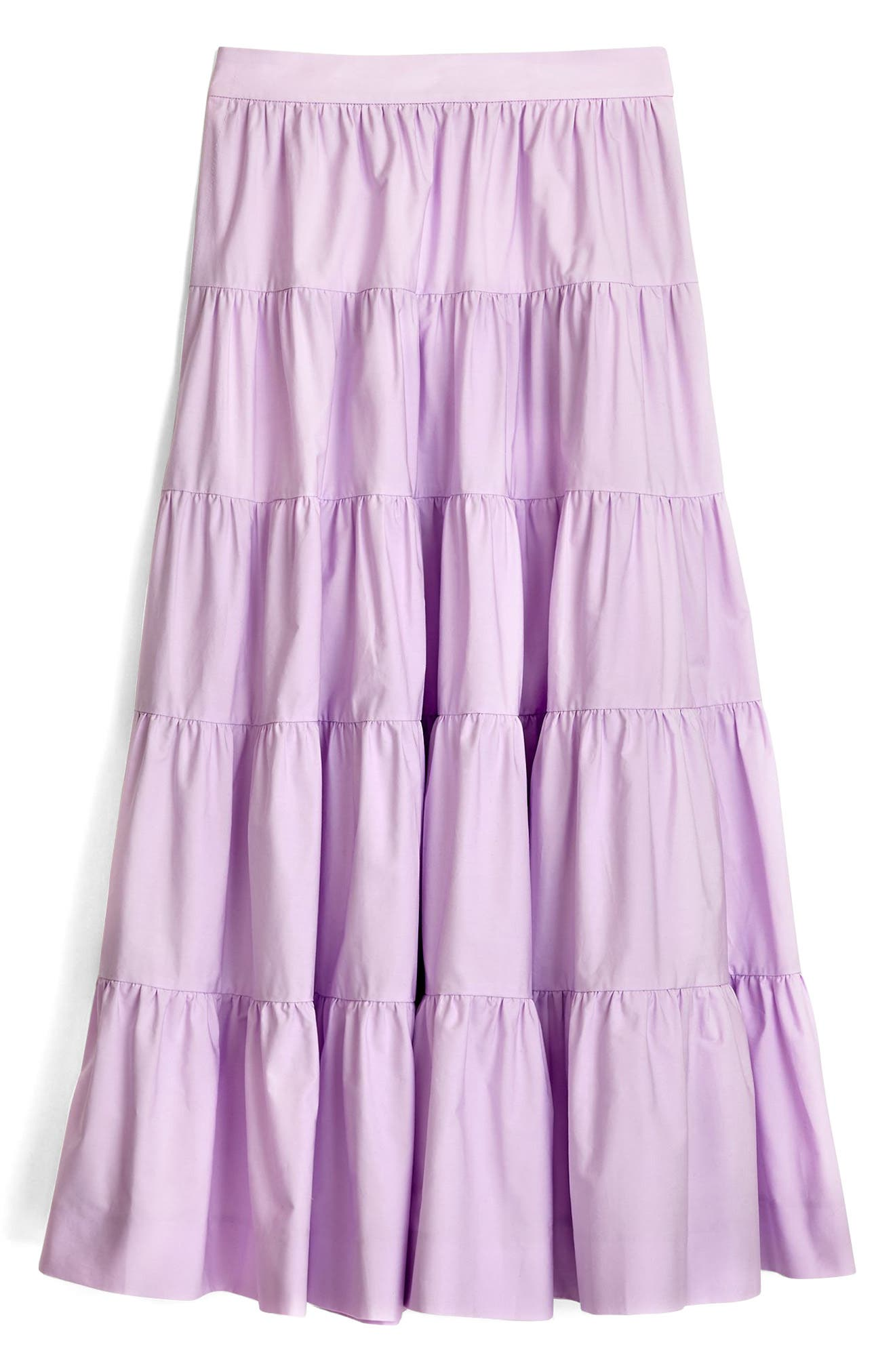 J.Crew French Creek Tired Cotton Poplin Midi,                             Alternate thumbnail 3, color,                             Frosty Lilac