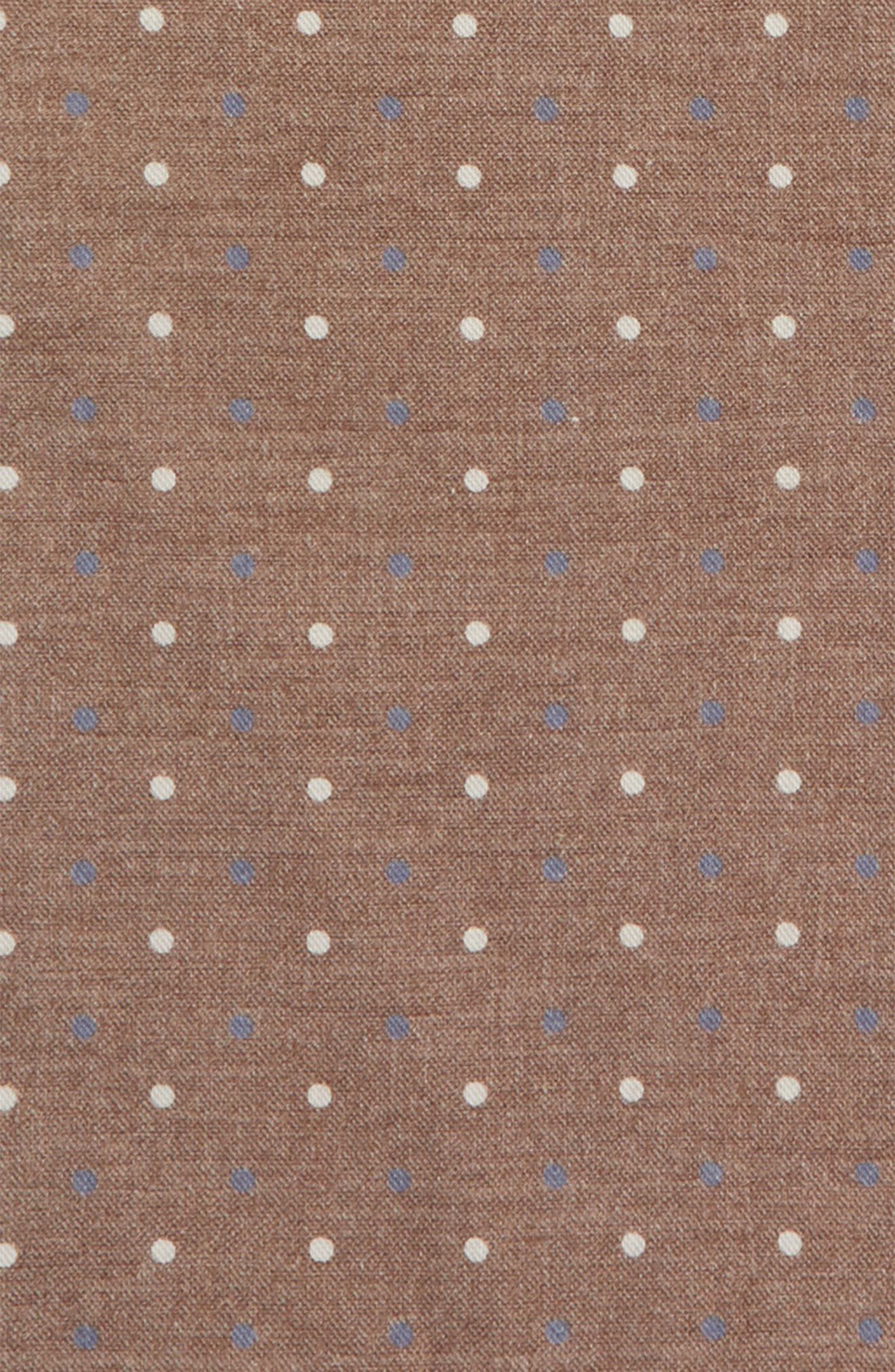 Dotted Wool & Cotton Pocket Square,                             Alternate thumbnail 3, color,                             Dark Brown
