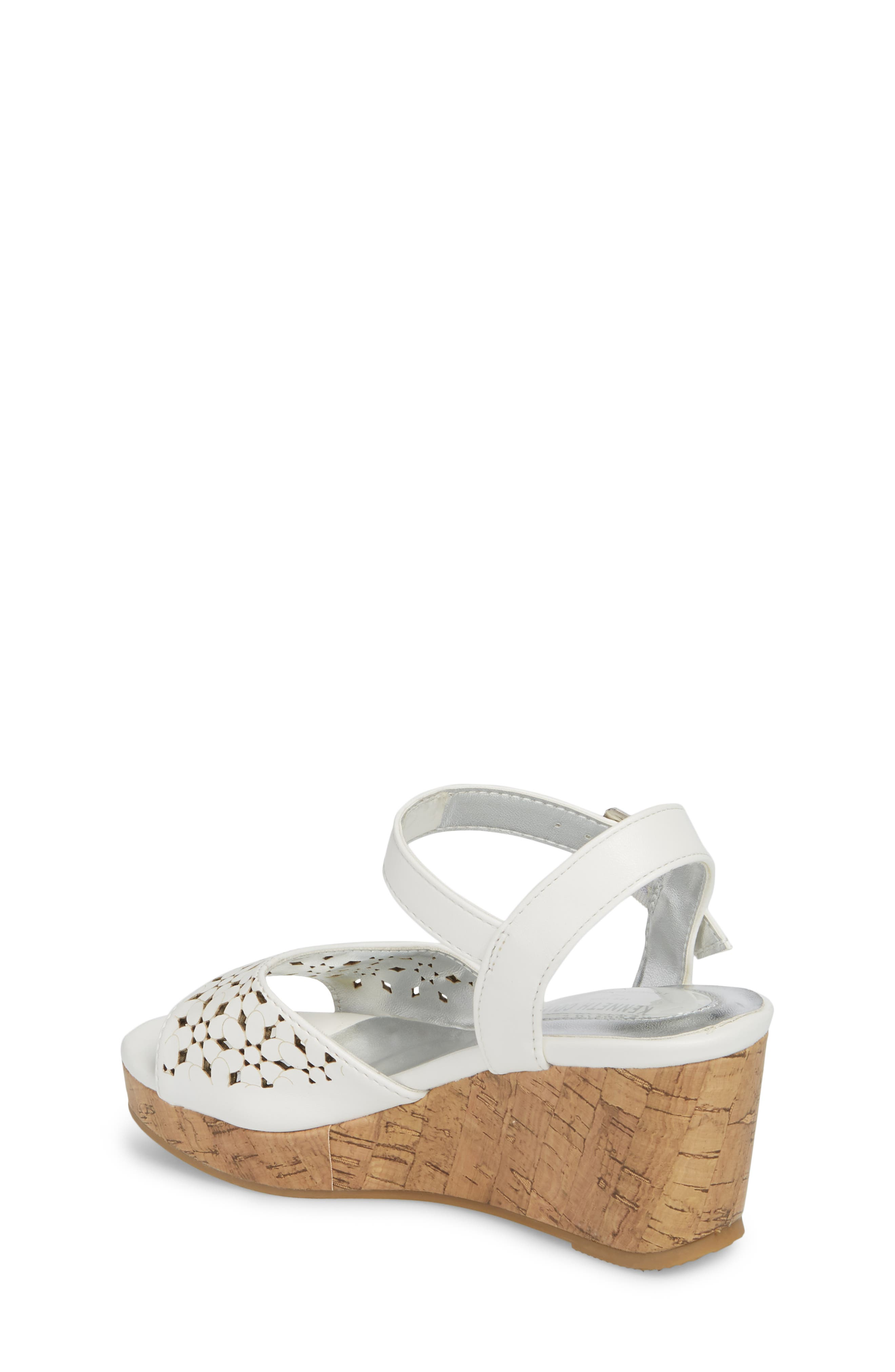 Corrine Flower Wedge Sandal,                             Alternate thumbnail 2, color,                             White