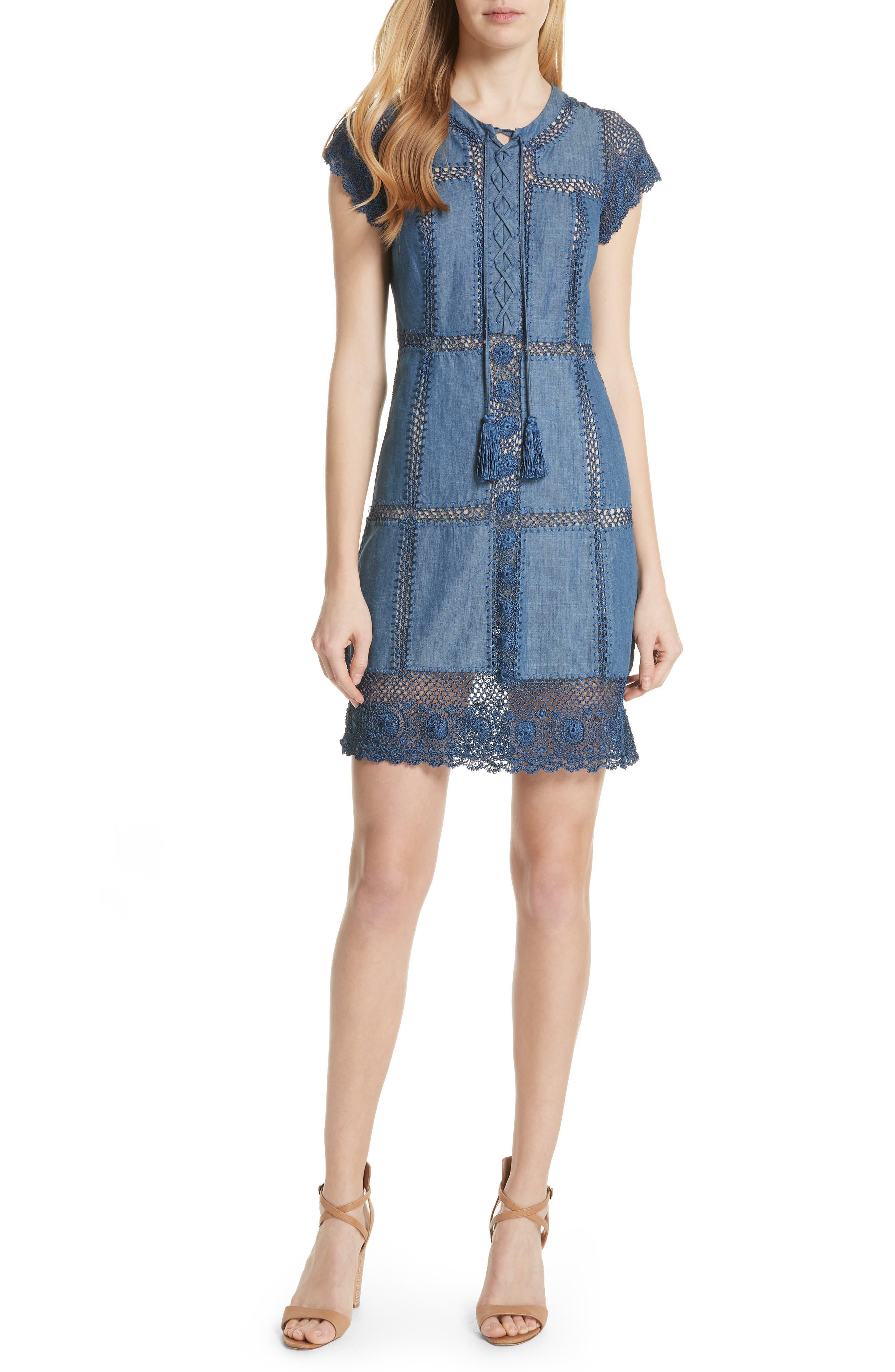 Alice + Olivia Tona Patchwork Chambray Dress