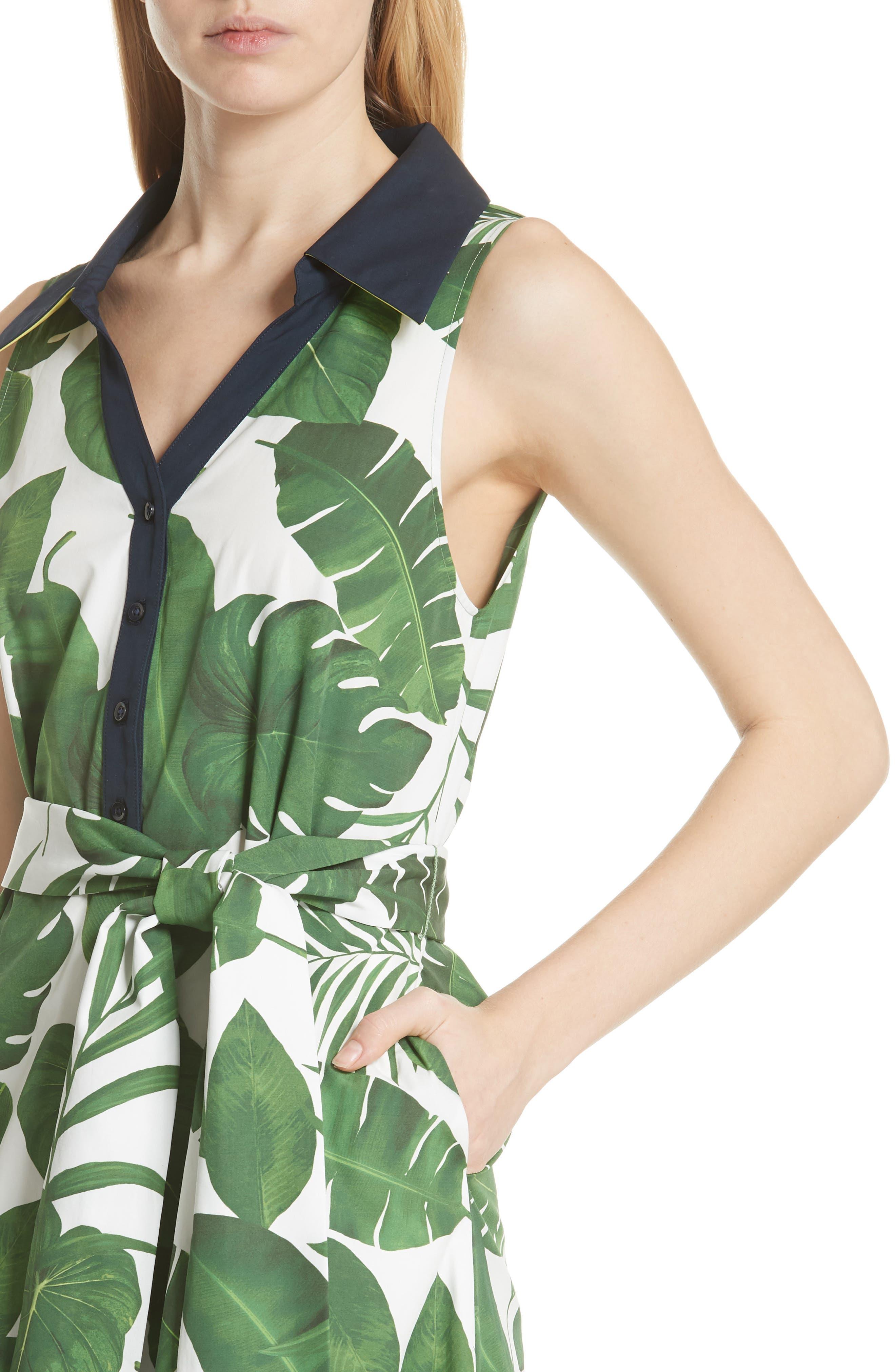 Margot Leaf Print Midi Dress,                             Alternate thumbnail 4, color,                             Tropical Leaves