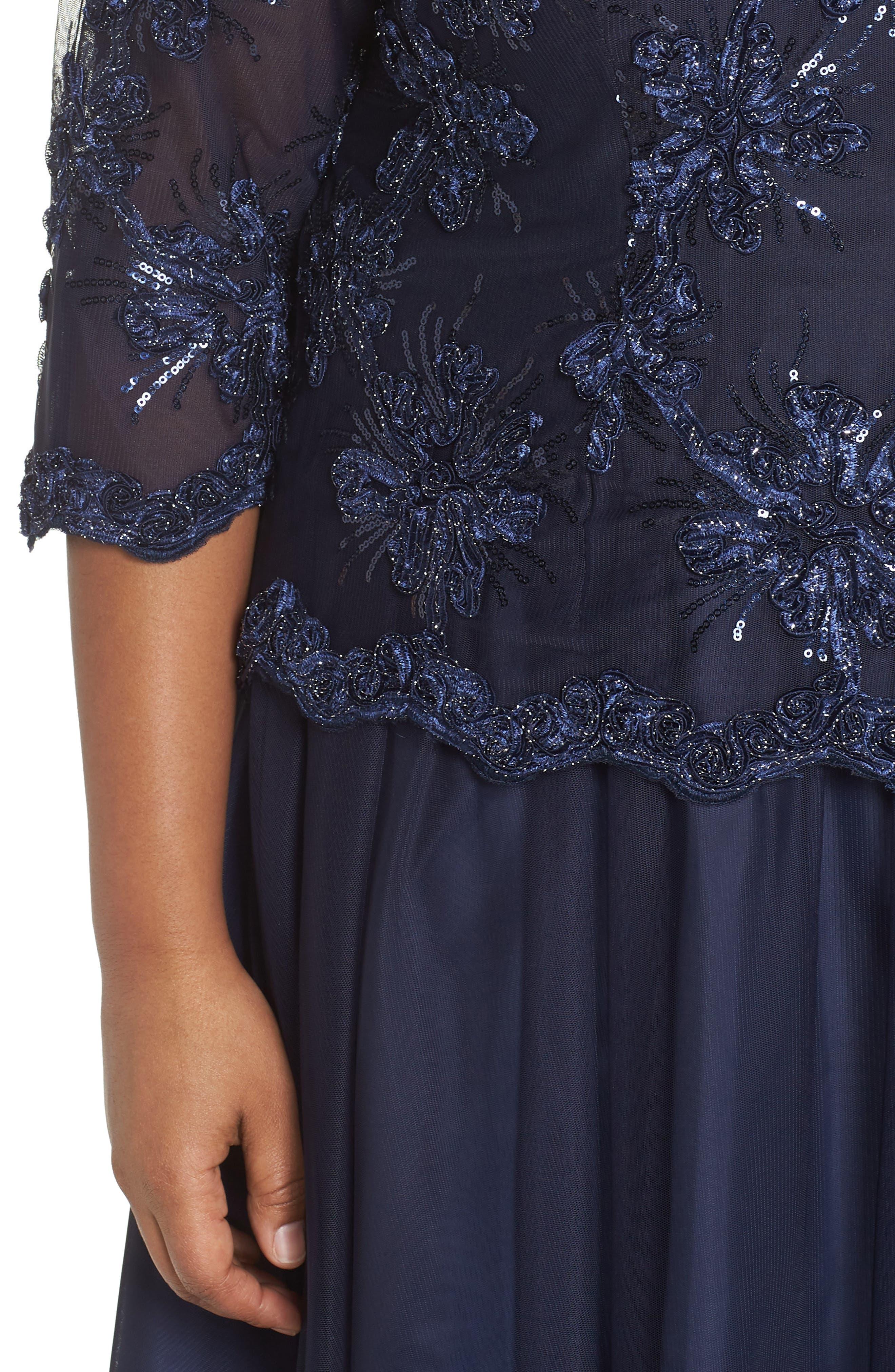 Embellished Bodice Tea Length Mesh Dress,                             Alternate thumbnail 4, color,                             Navy