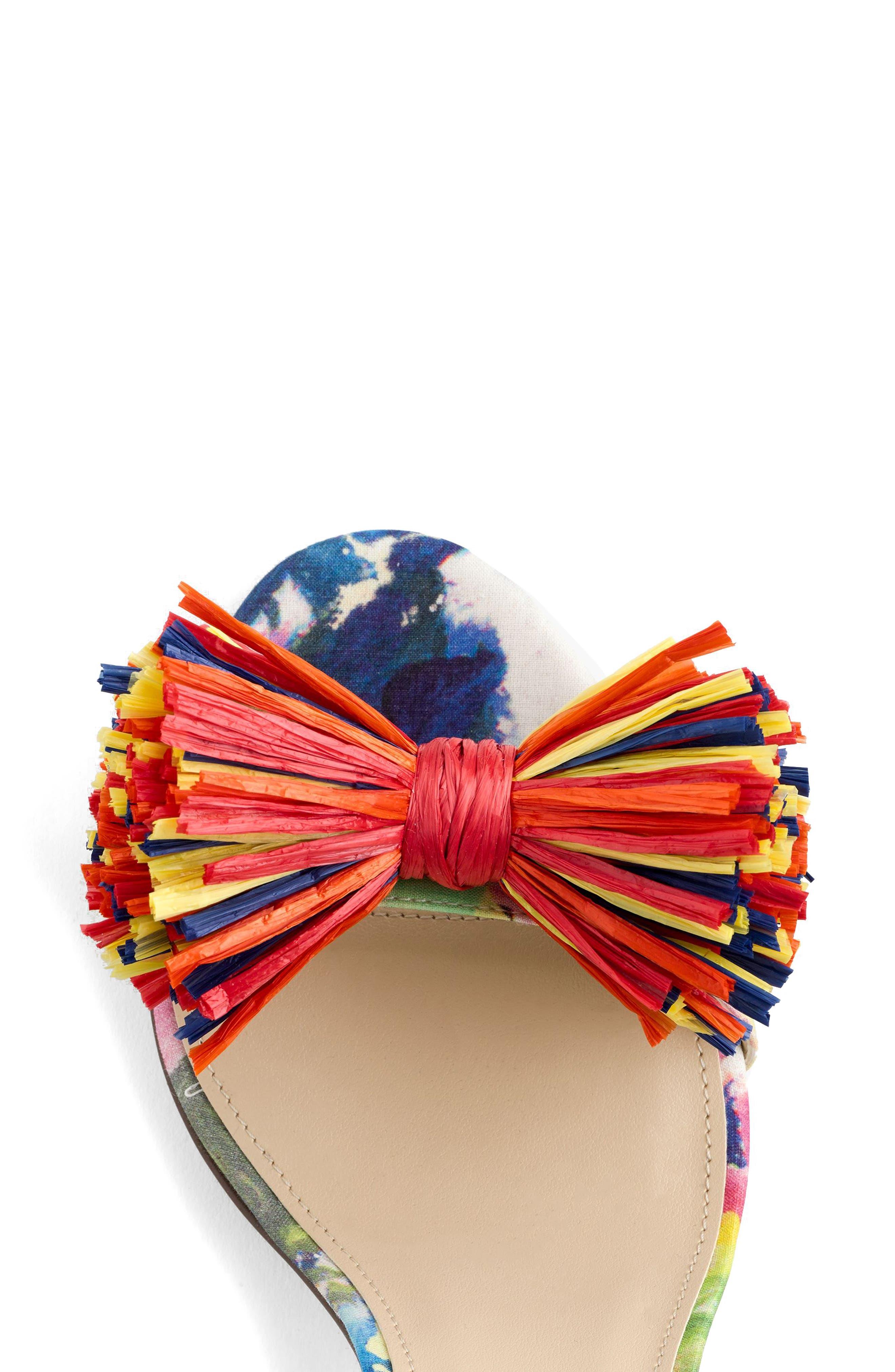 Raffia Bow Strappy Sandal,                             Alternate thumbnail 3, color,                             Bouquet Multi Fabric