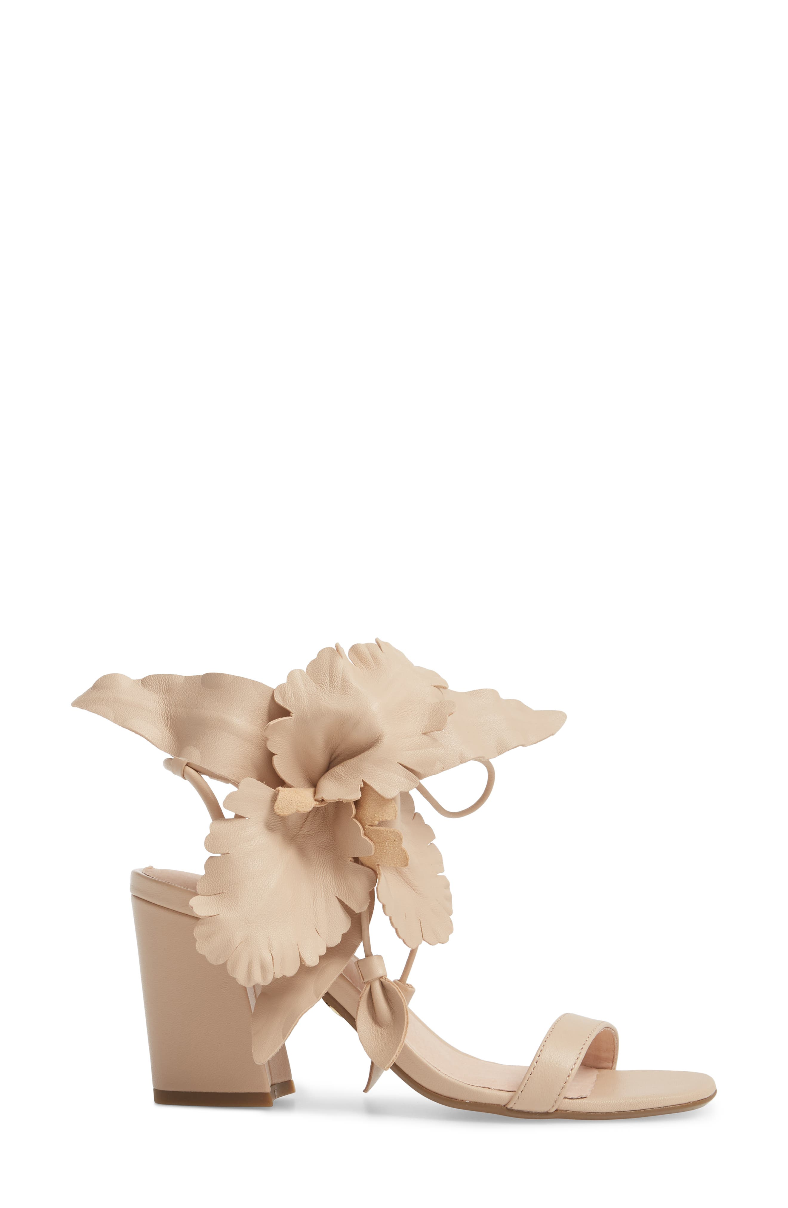 Hibiscus Sandal,                             Alternate thumbnail 3, color,                             Nude Leather