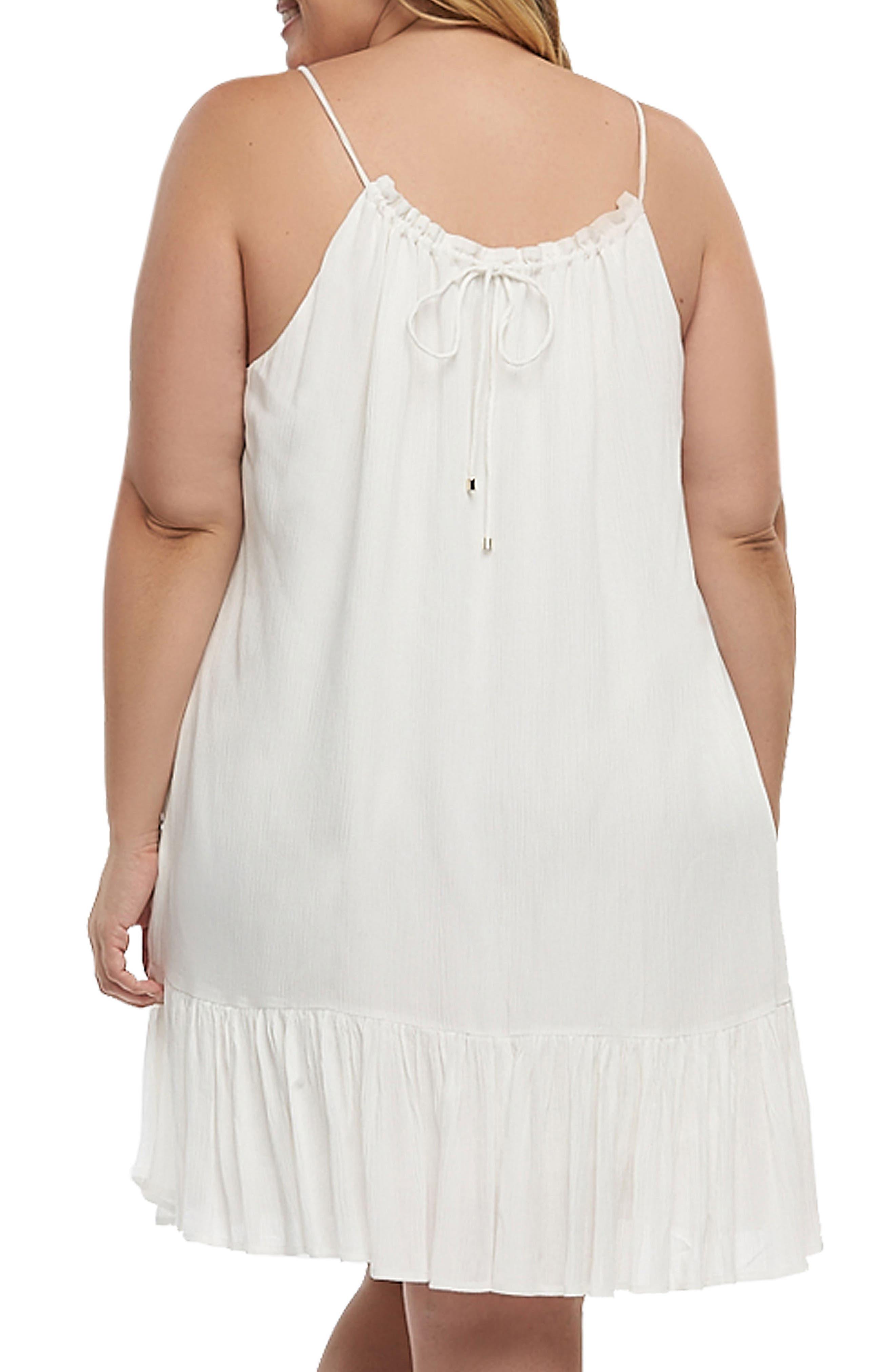 Liz Halter Top Baby Doll Dress,                             Alternate thumbnail 2, color,                             White
