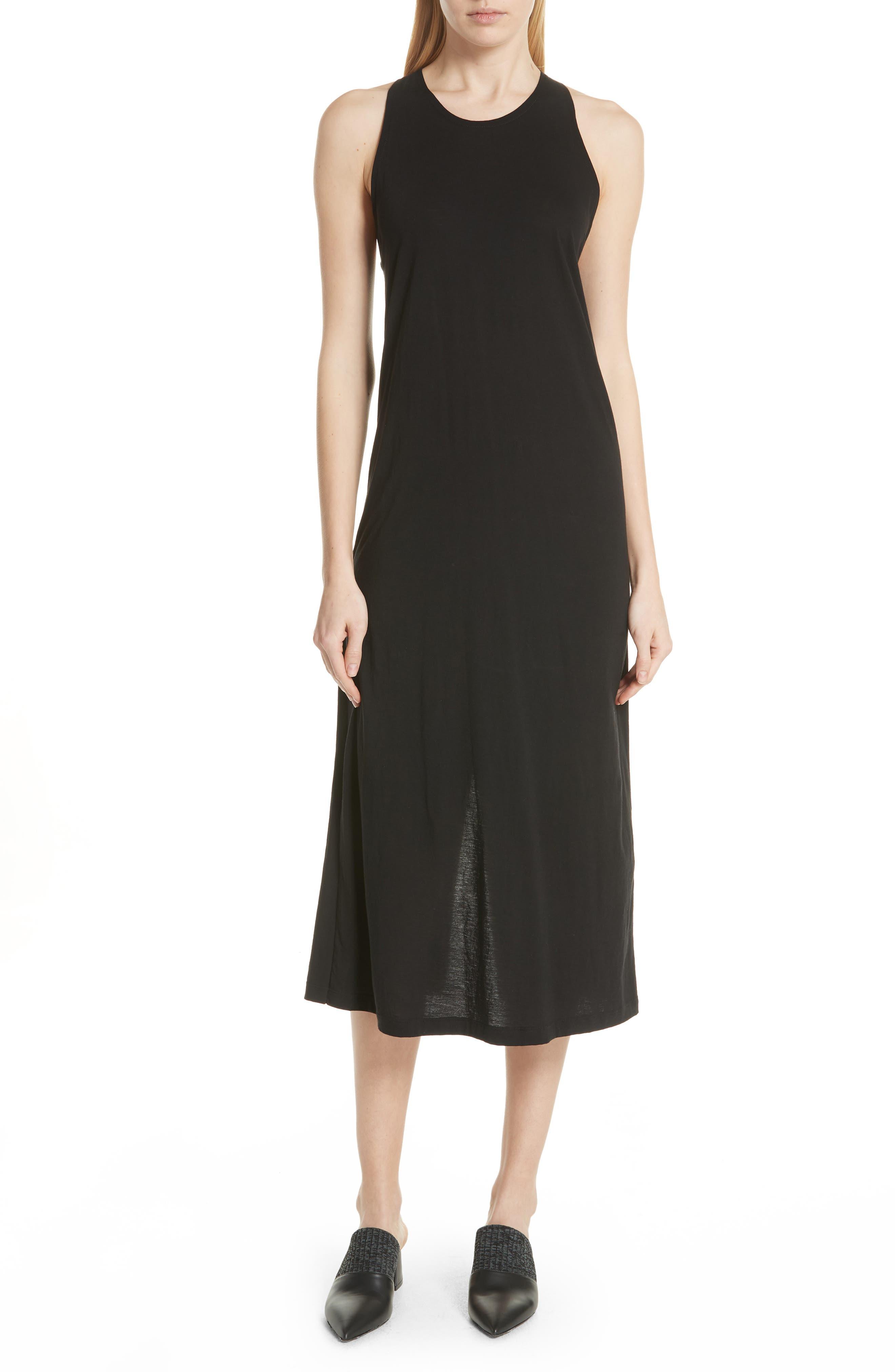 Twist Back Pima Cotton Dress,                         Main,                         color, Black