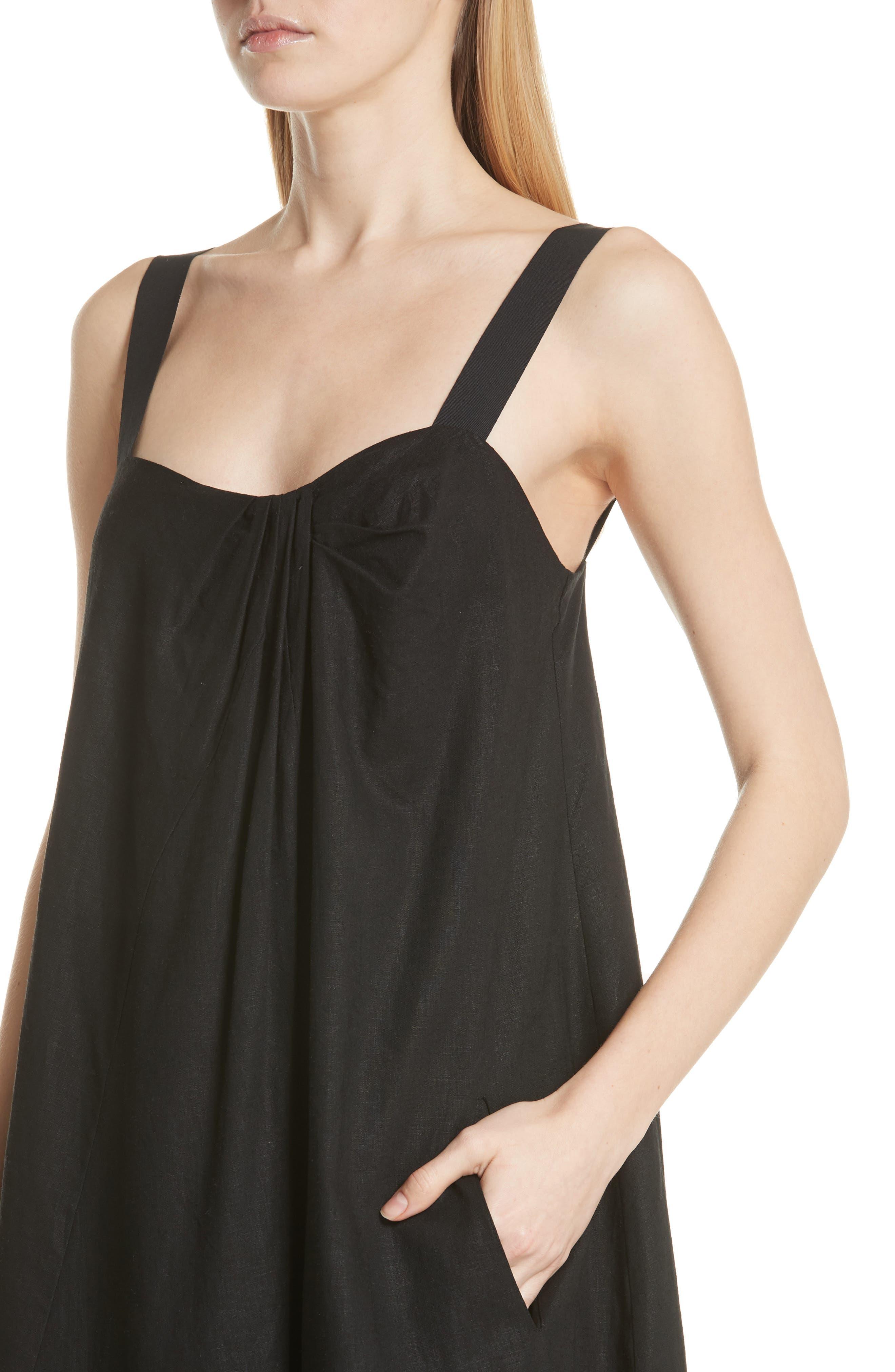 Drape Neck Asymmetrical Hem Dress,                             Alternate thumbnail 4, color,                             Black